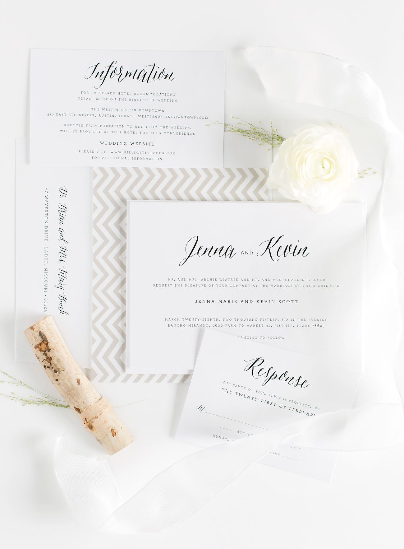 Rustic and Romantic Calligraphy Wedding Invitations in Neutrals