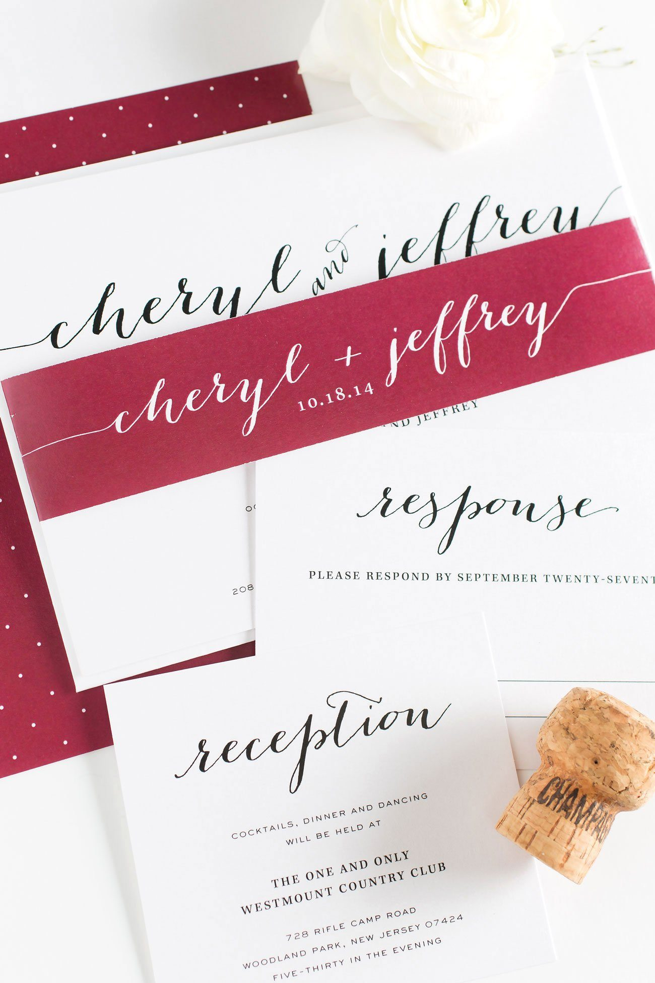 Calligraphy Wedding Invitations in Cranberry