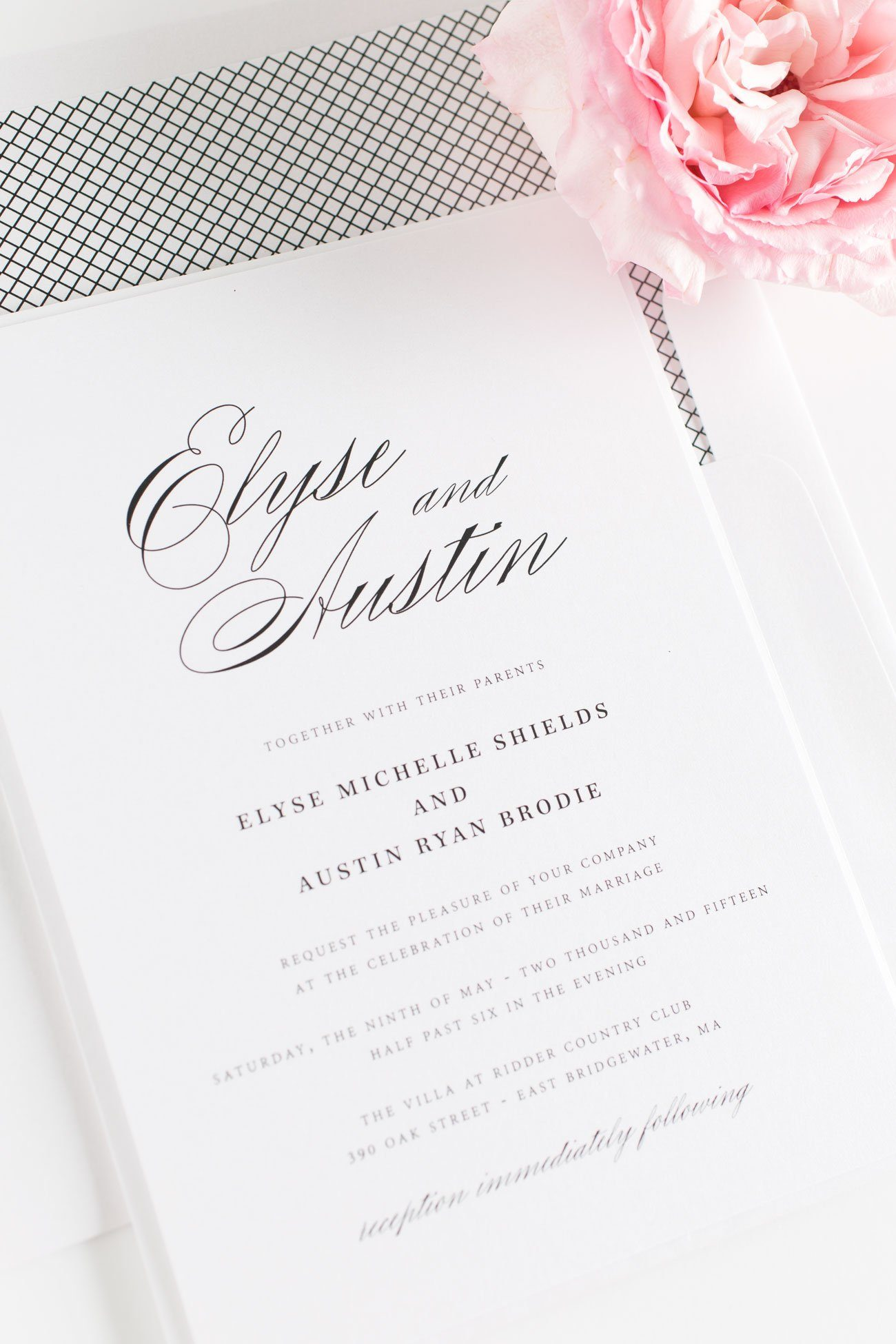 Black and White Calligraphy Wedding Invitations