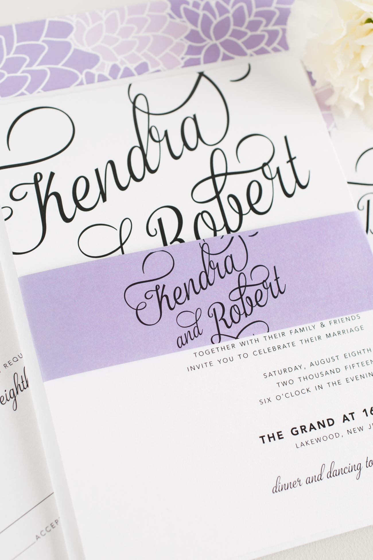 Purple Floral Wedding Invitations with Bold Calligraphy