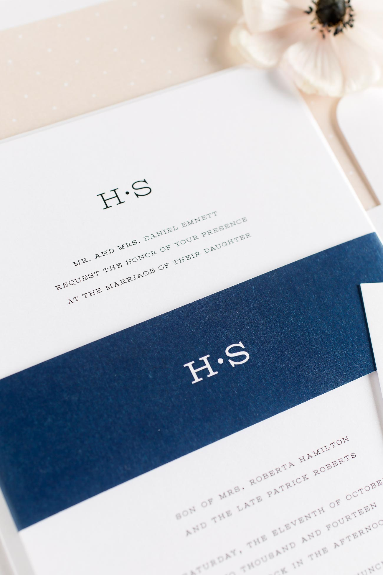 French Garden Wedding Invitations in navy and blush