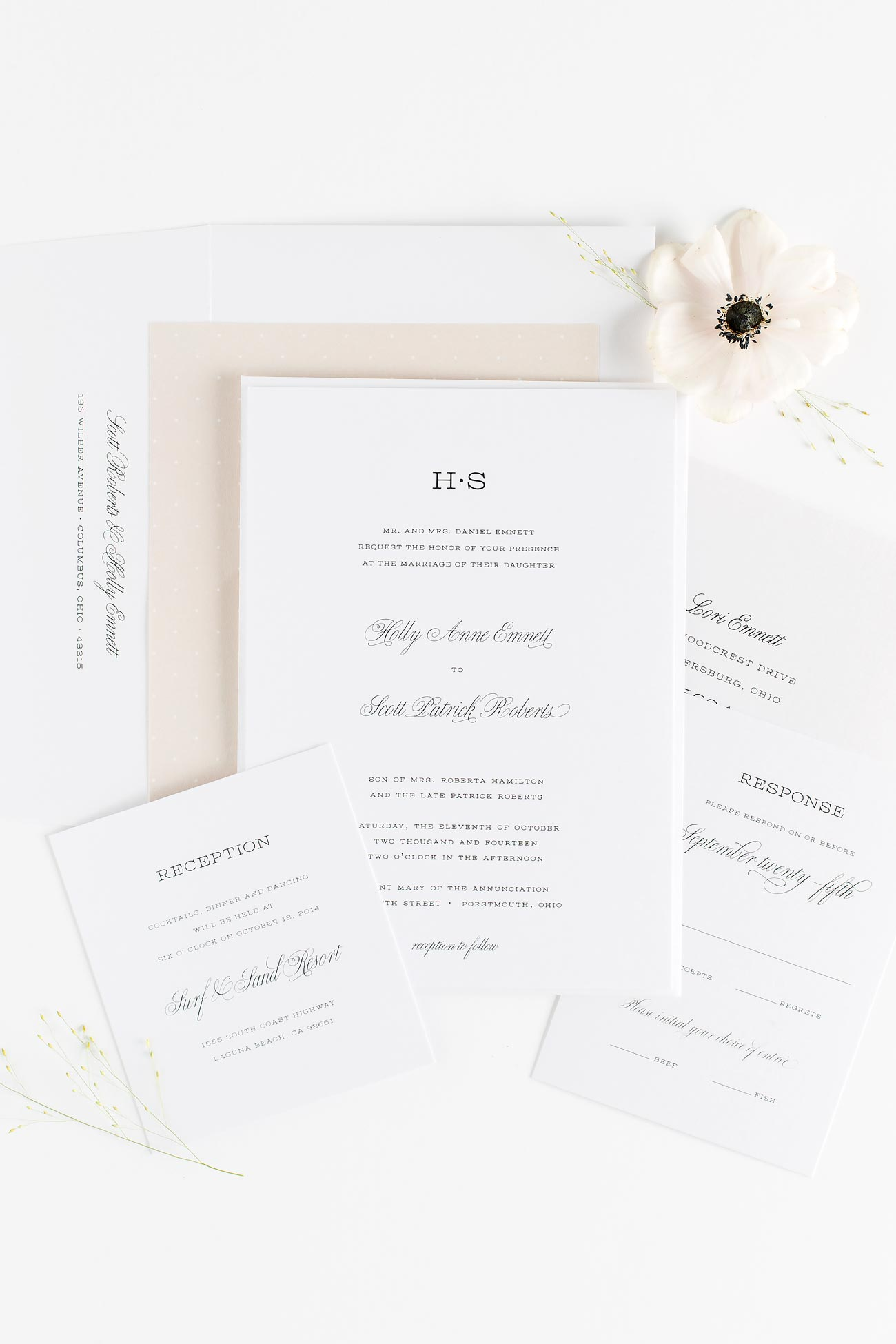 Garden Wedding Invitations in champagne