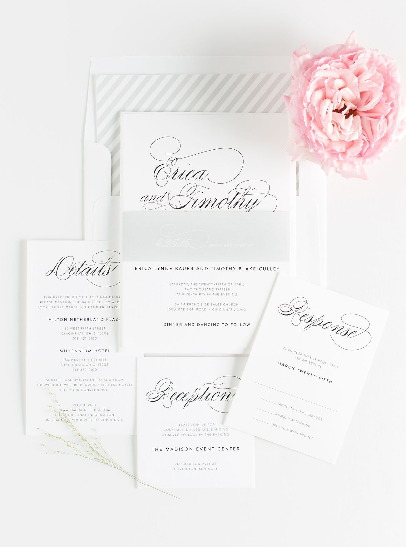 Gray Script Wedding Invitations with Stripes