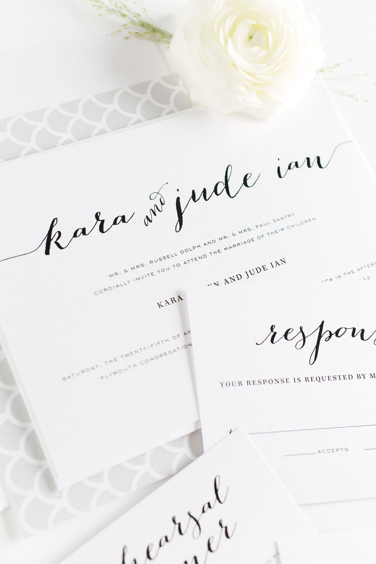 Gray Wedding Invitations with scallops