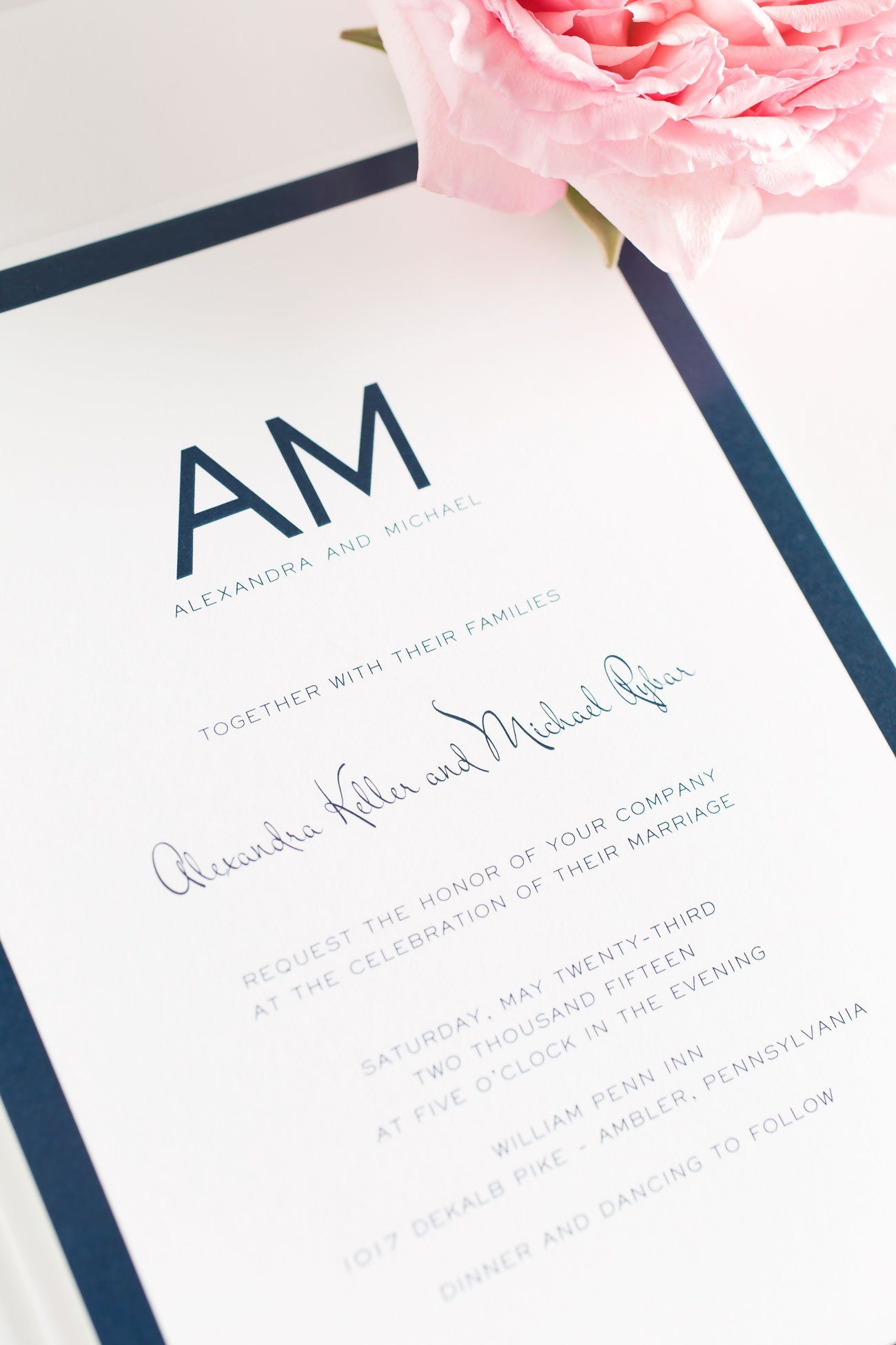 Modern Navy Wedding Invitations with a Contemporary Monogram