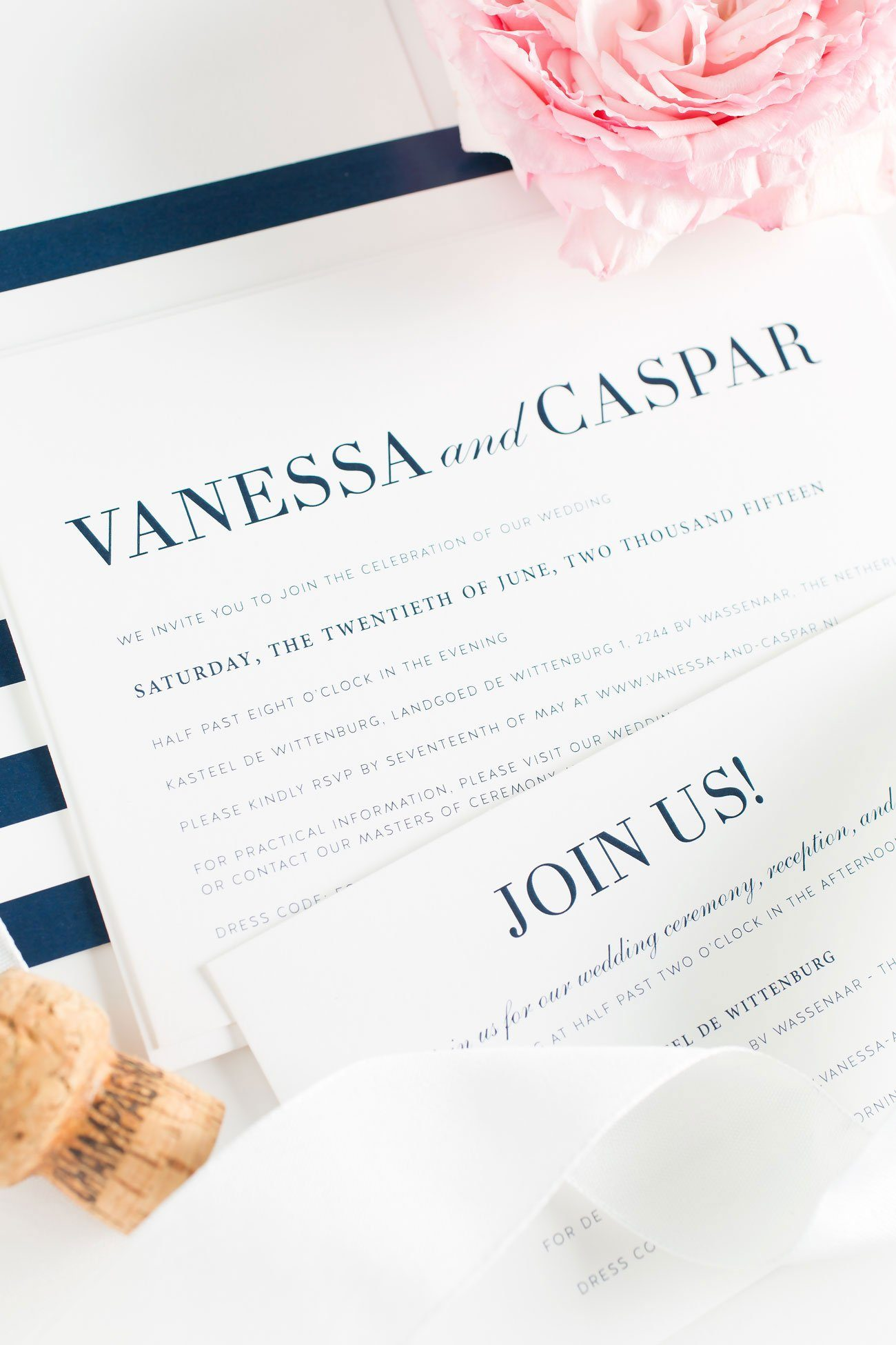 Modern Wedding Invitations with Navy Stripes