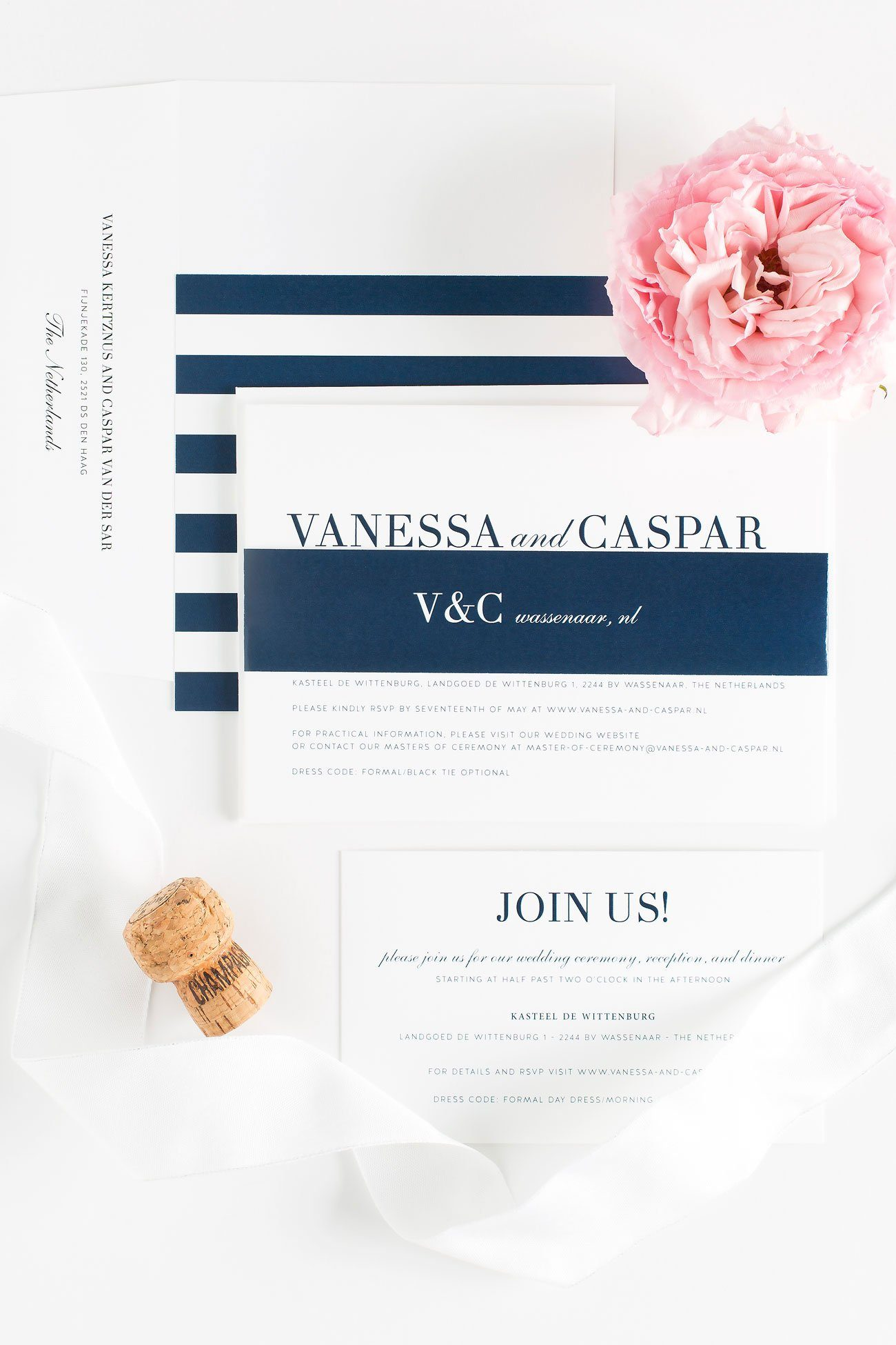 Navy Wedding Invitations with a modern monogram