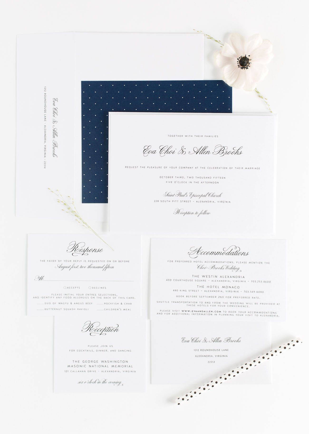 Navy blue Wedding Invitations with a polka dot envelope liner