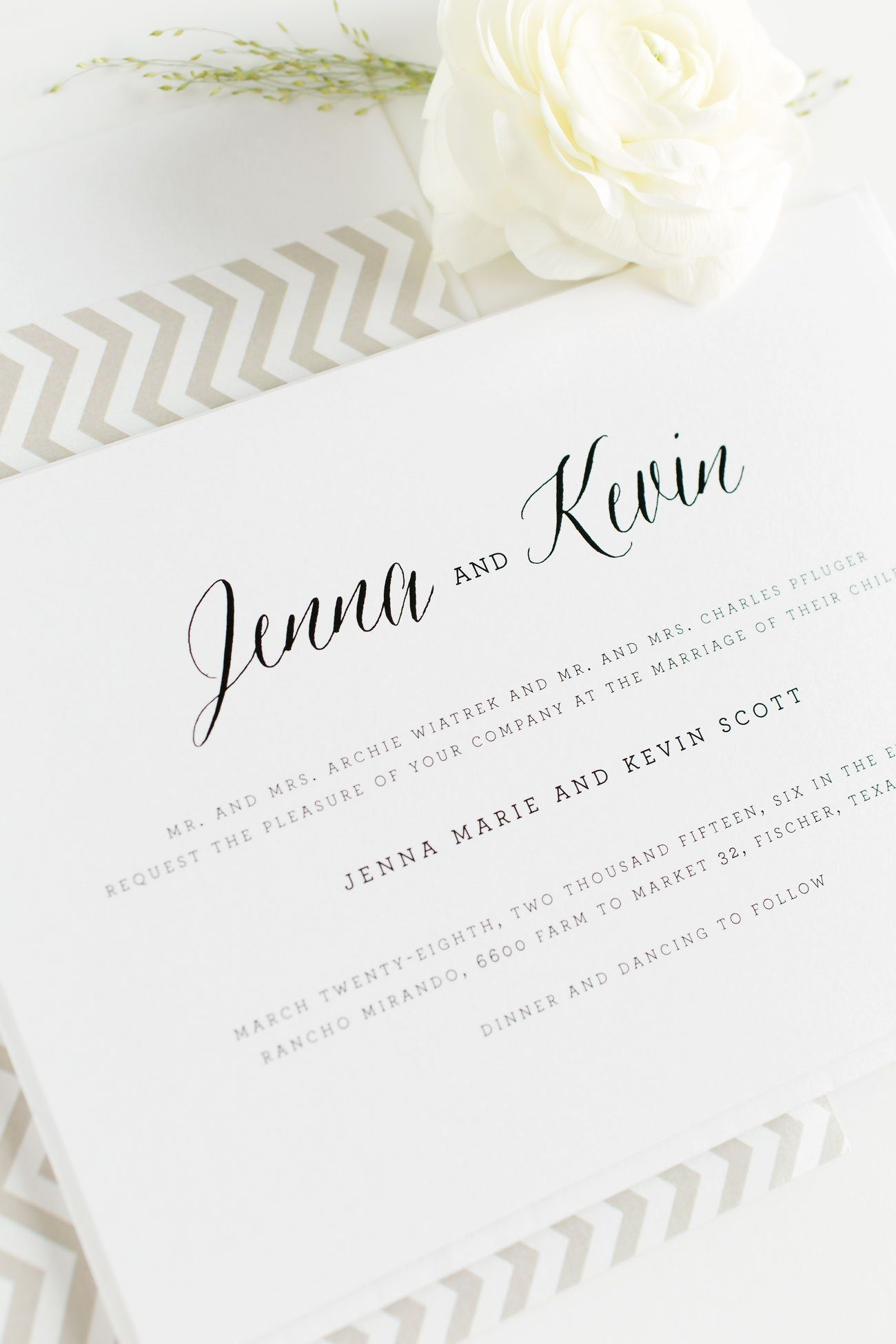 Neutral Wedding Invitations with chevron accents