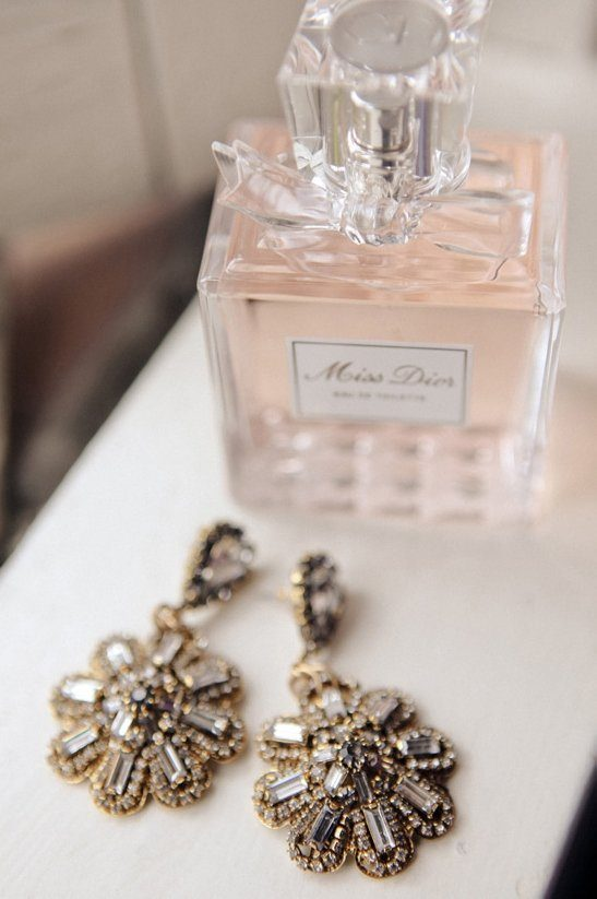 Miss Dior Perfume and Crystal Earrings