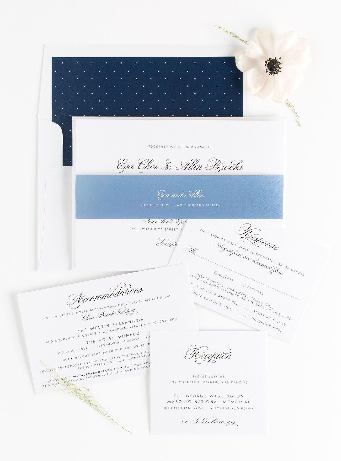 Dusty Blue Wedding Invitations with Navy accents