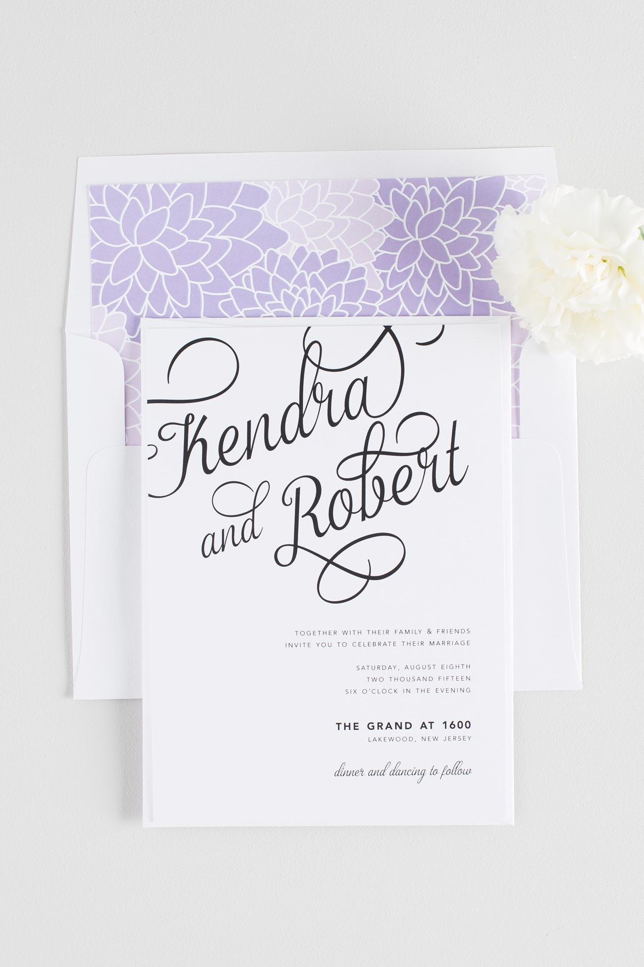 Whimsical Wedding Invitations with Large Calligraphy and Purple Dahlia Envelope Liner