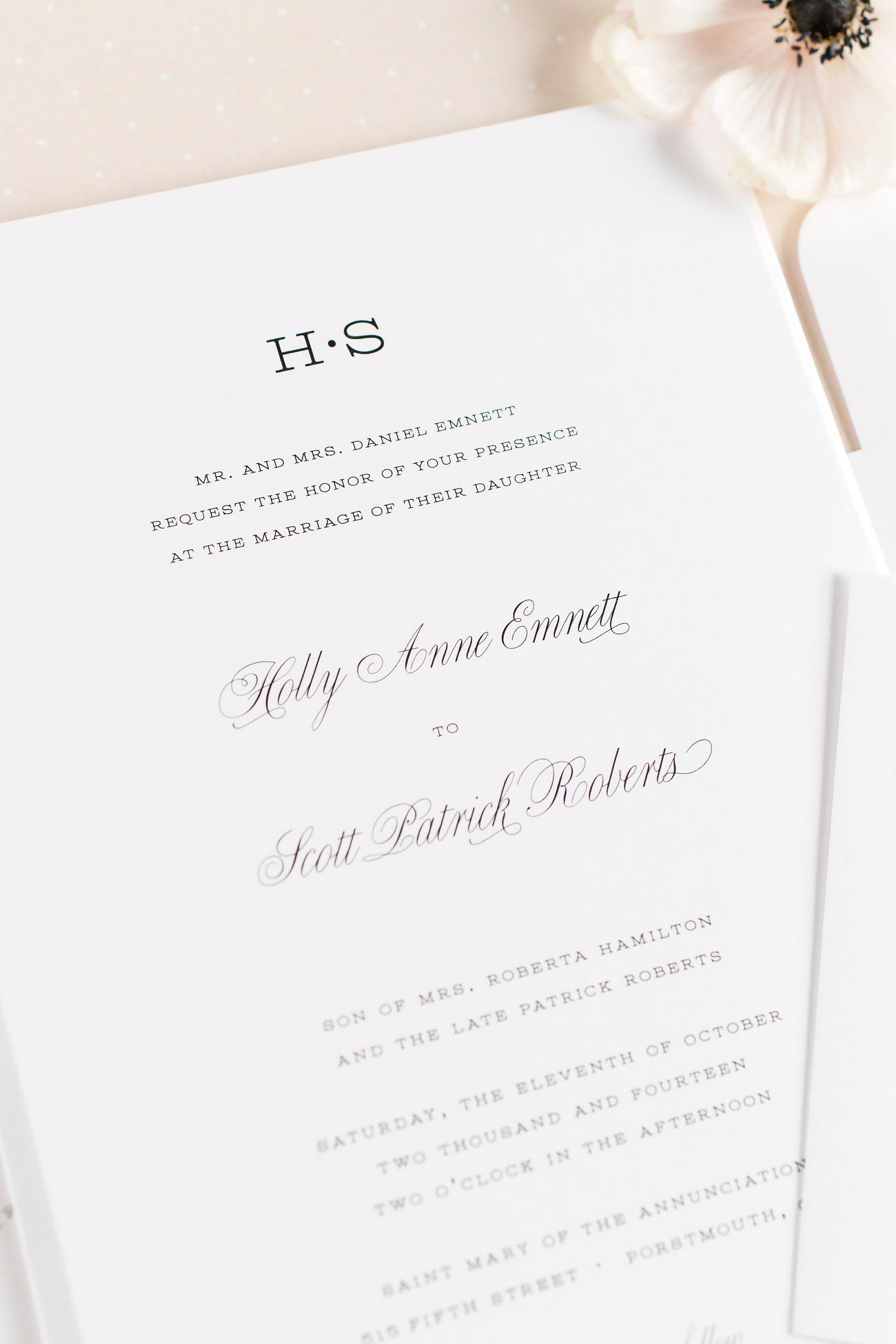Romantic champagne wedding invitations with a monogram