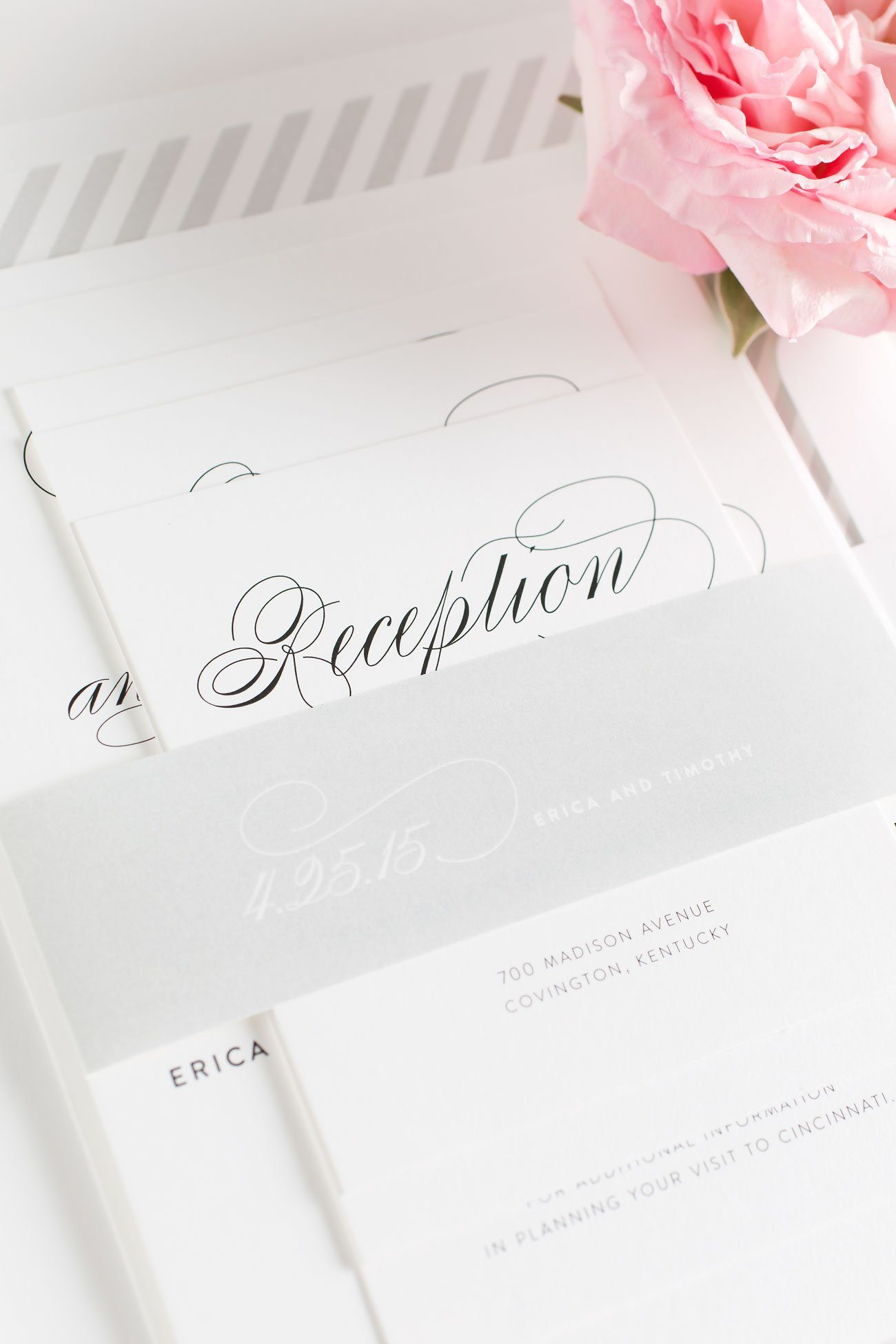 Script Wedding Invitations assembled with a gray belly band