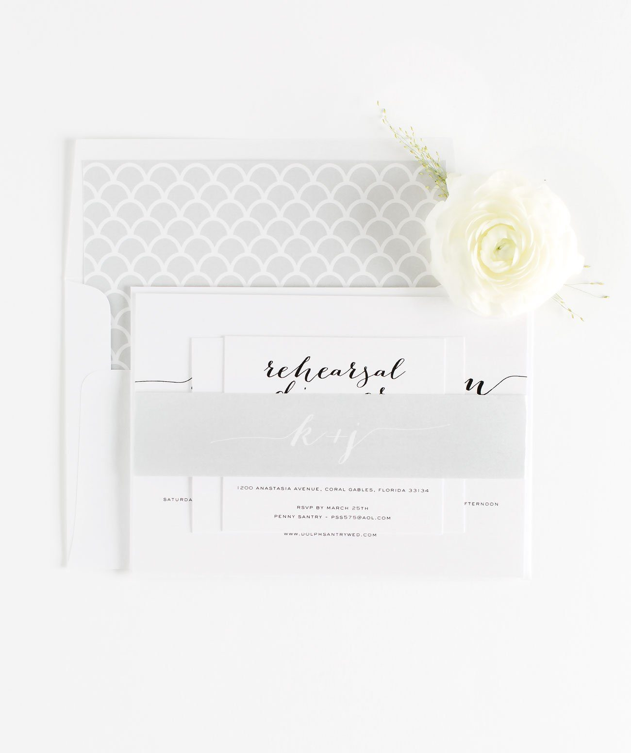 Calligraphy Wedding Invitations Assembled with a Gray Belly Band