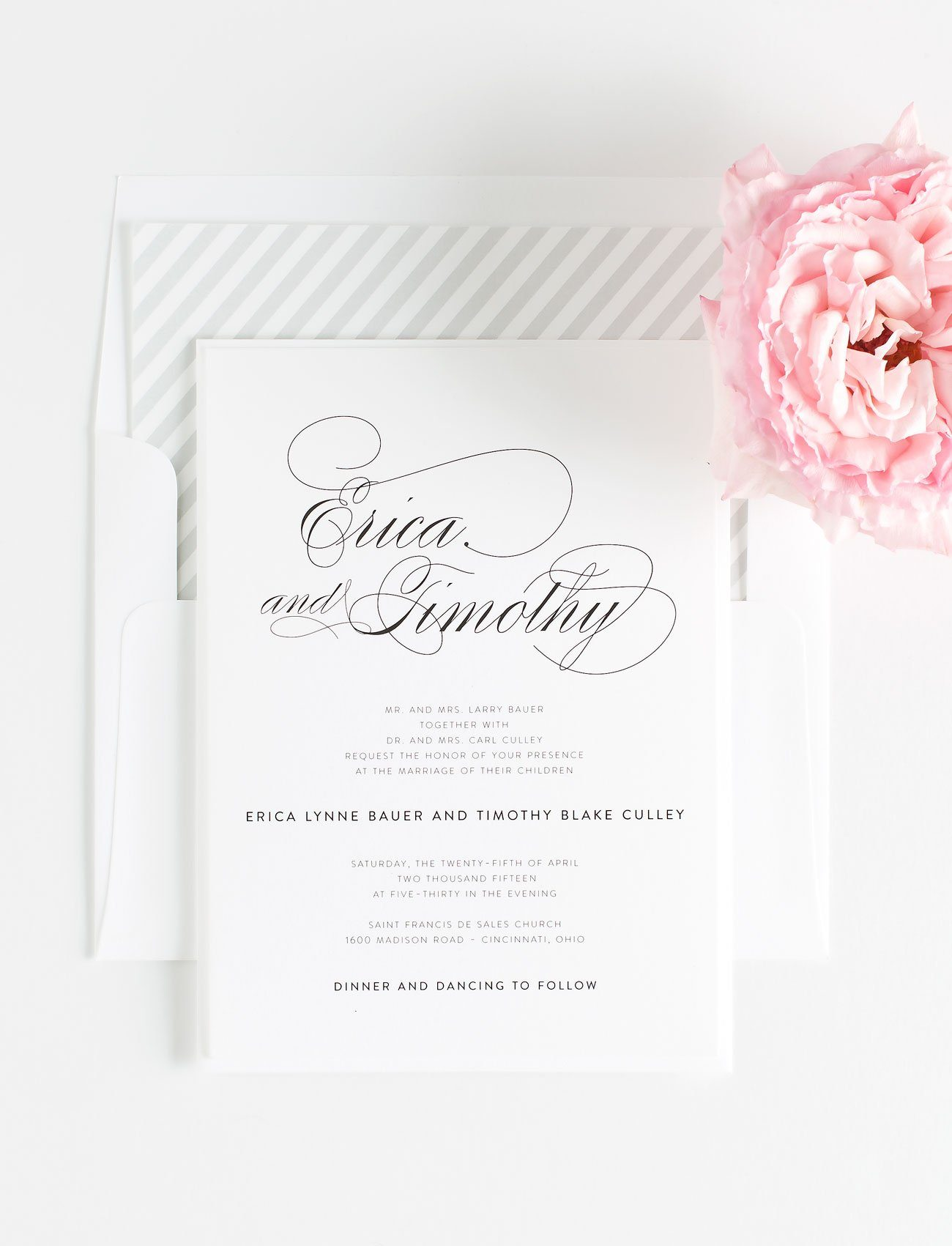 calligraphy wedding invitations with gray accents silver wedding invitations - Silver Wedding Invitations