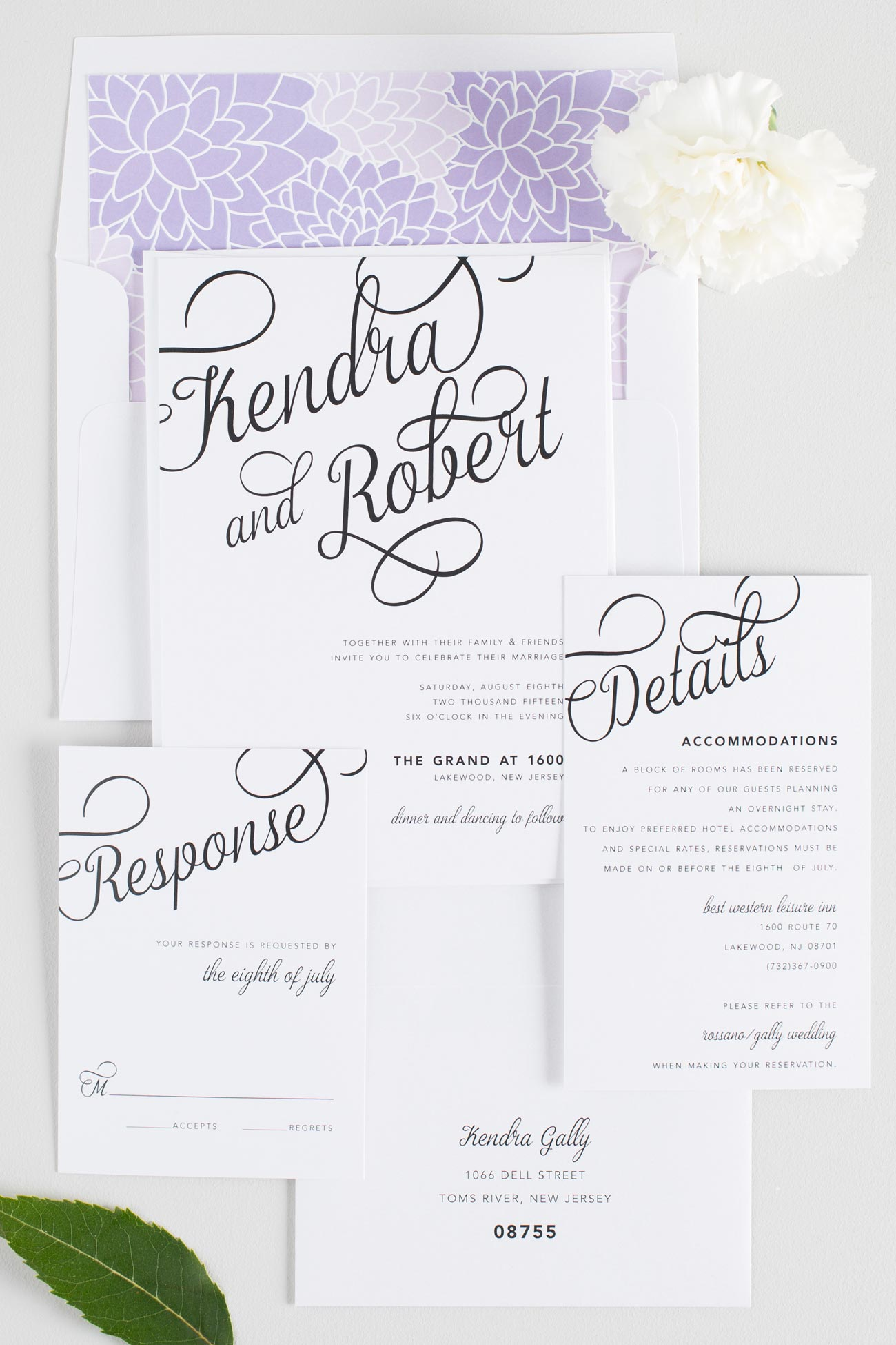 Statement Wedding Invitations with purple floral accents