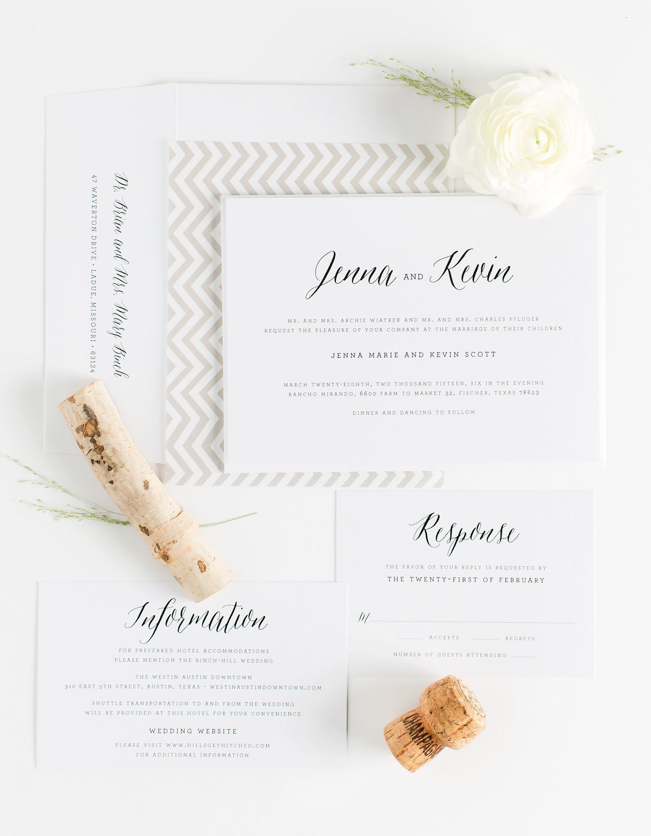 Rustic Calligraphy Wedding Invitations in Taupe