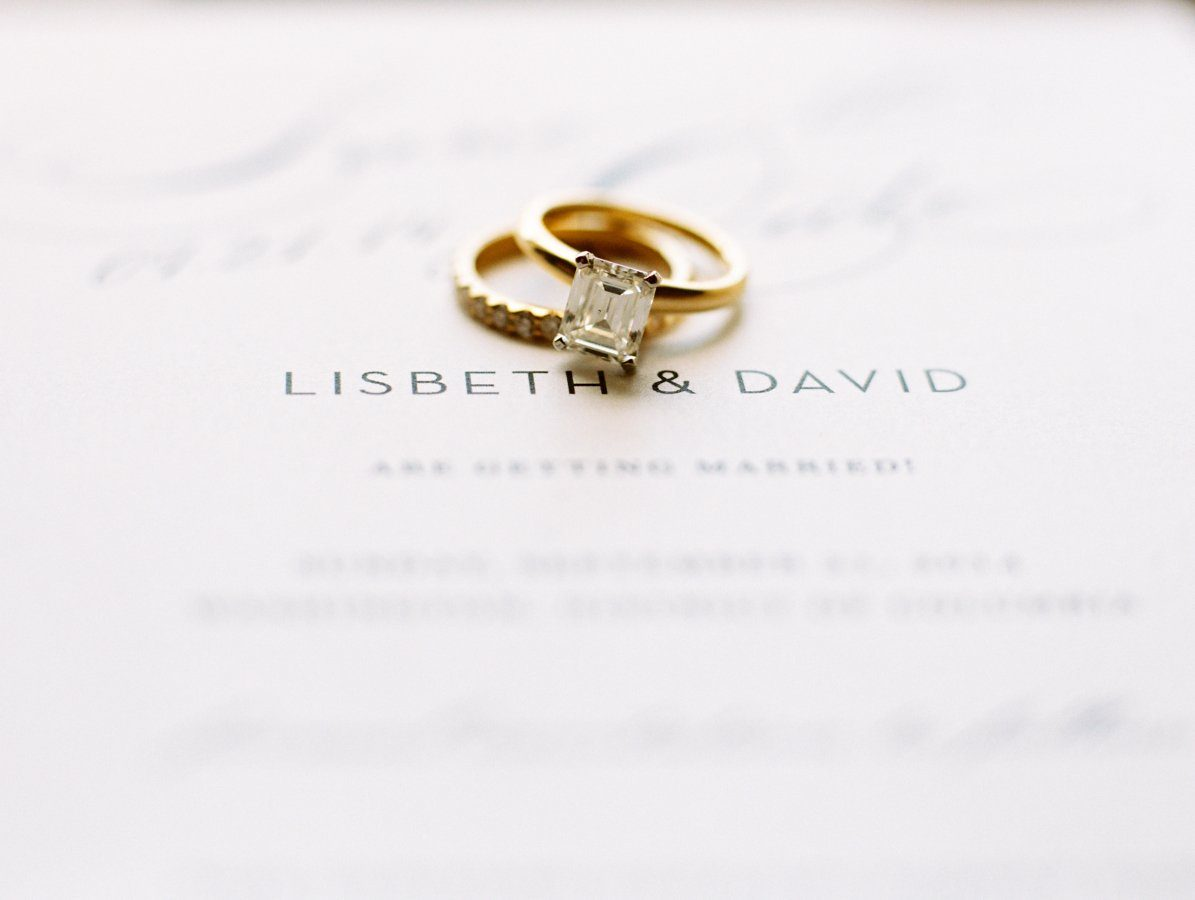 Vintage Glam Wedding Invitations with Gold Wedding Rings