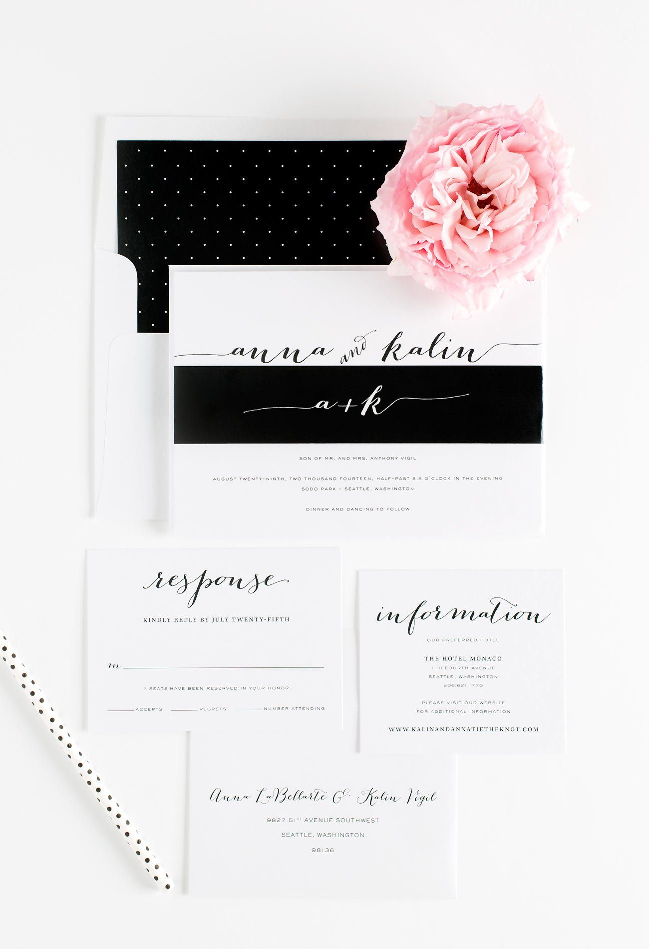 Black and White Romantic Wedding Invitations