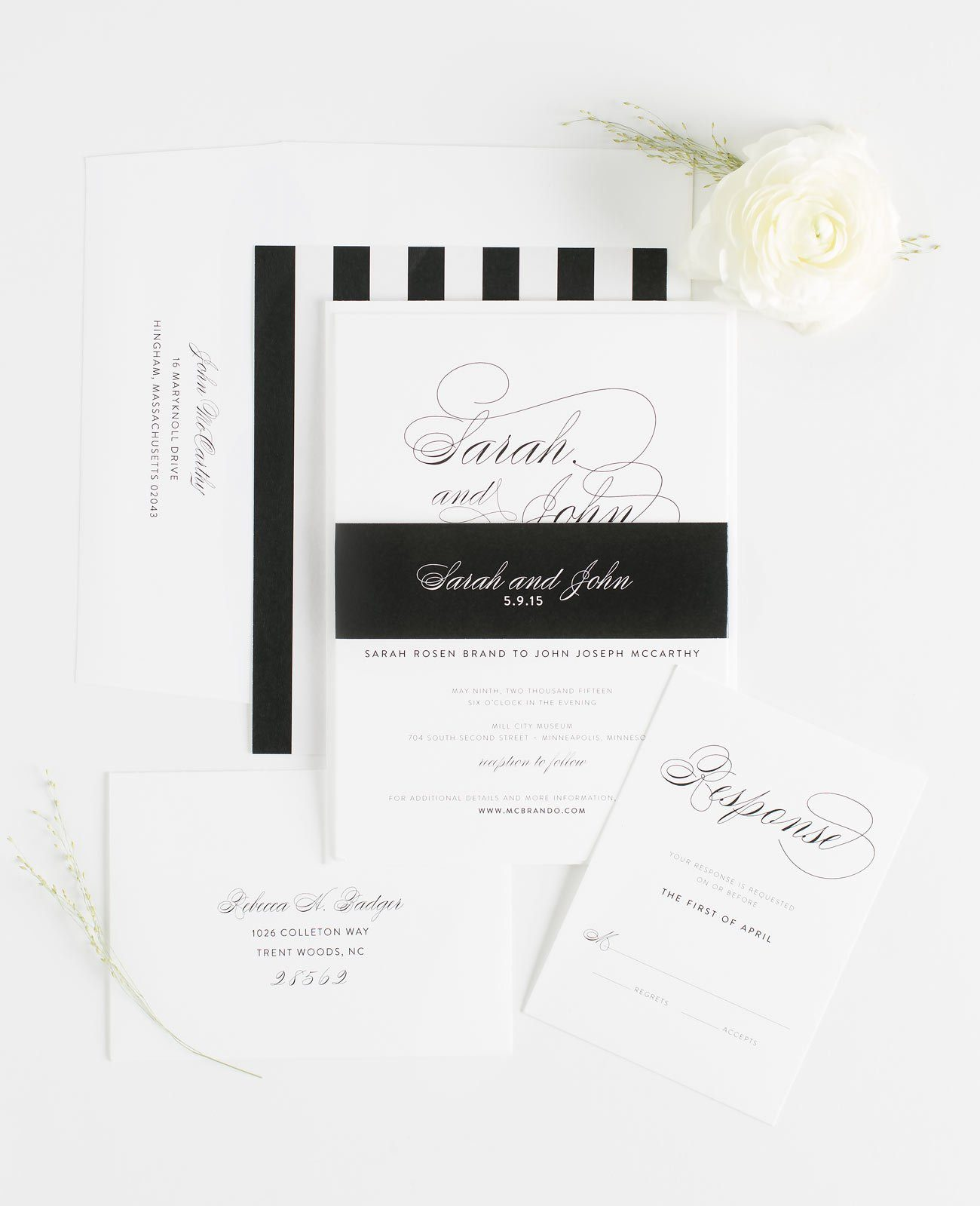 Black and White Striped Calligraphy Wedding Invitations