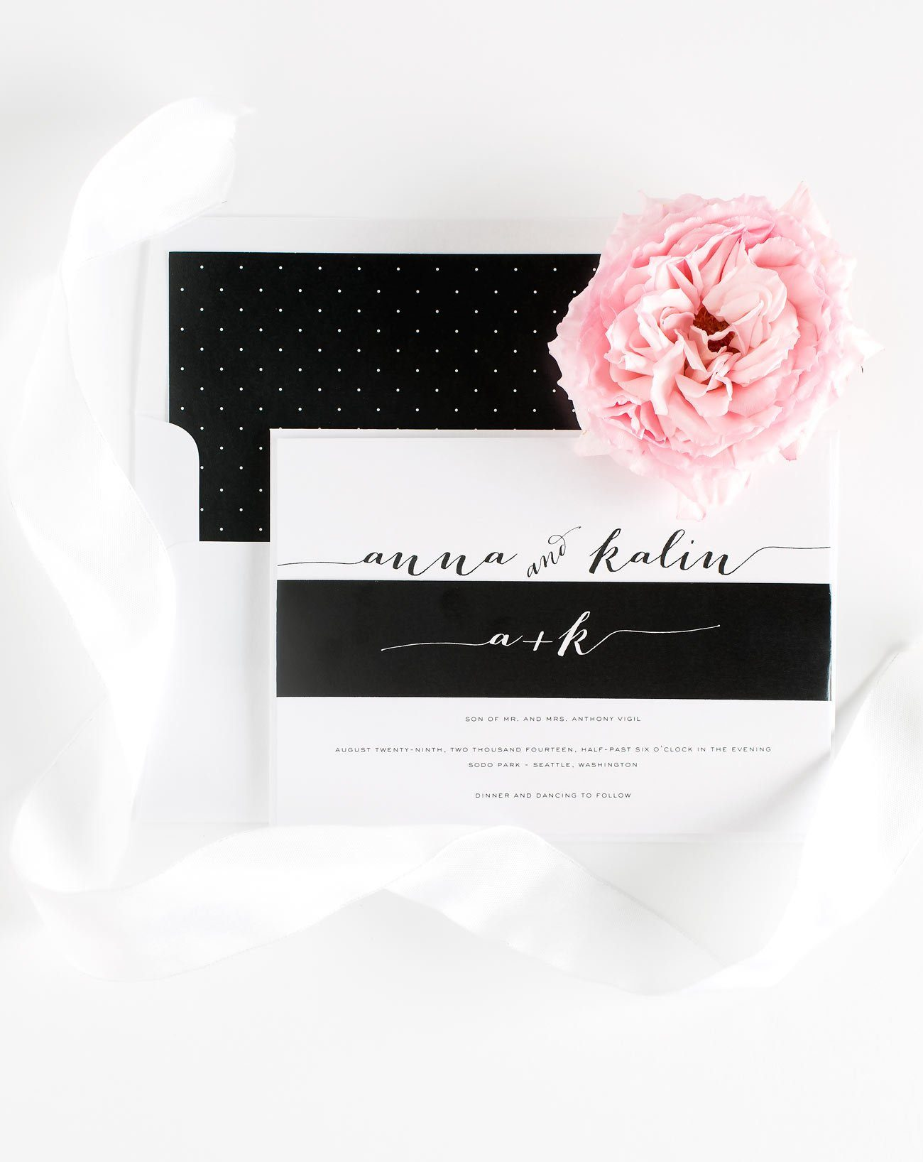 Black and White Wedding Invitations with Polka Dots