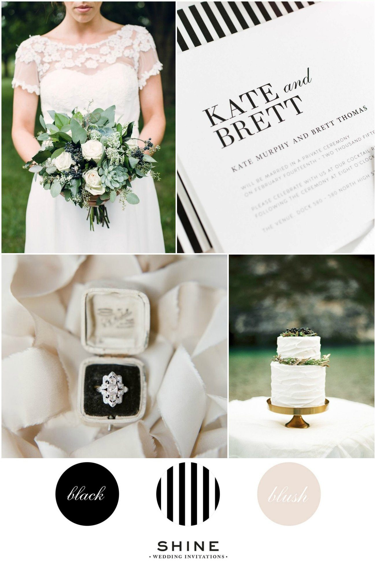 Black and White Striped Wedding Inspiration with Blush Pink Accents