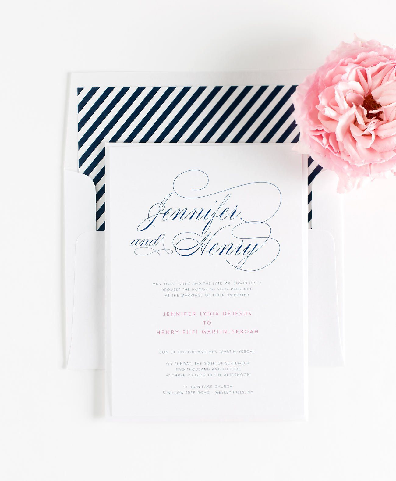 Calligraphy Wedding invitations in Navy Blue