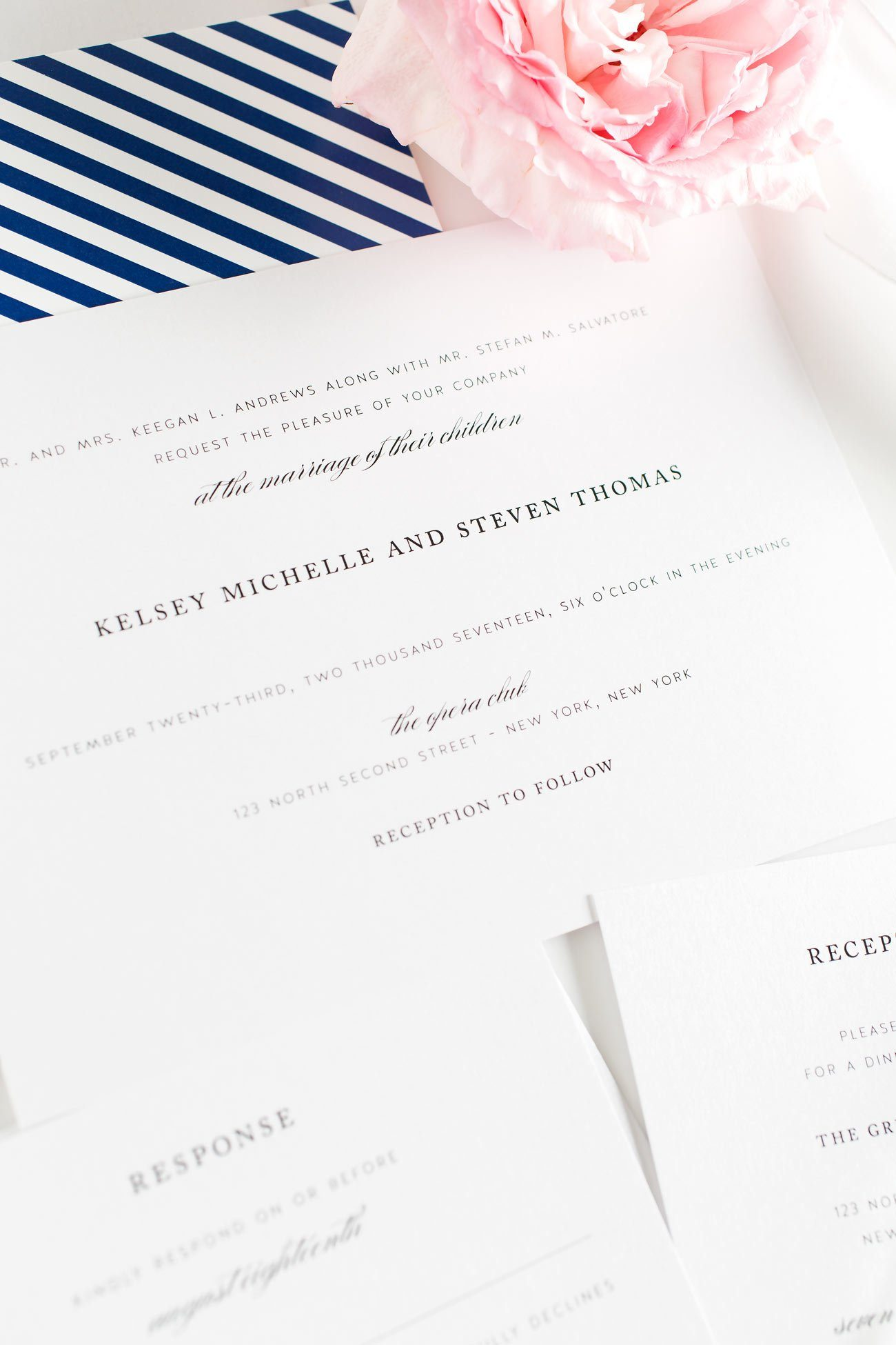 Classic Wedding Invitations in Navy Blue