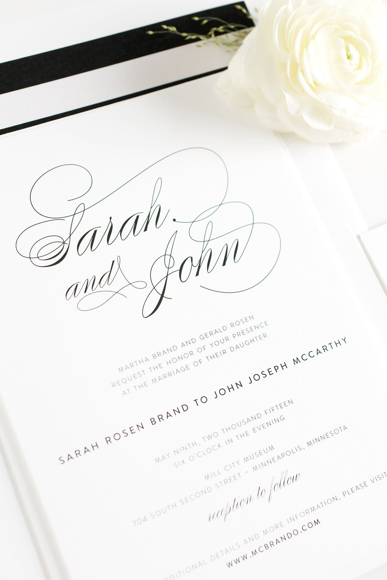 Black and White Calligraphy Wedding Stationery – Wedding Invitations
