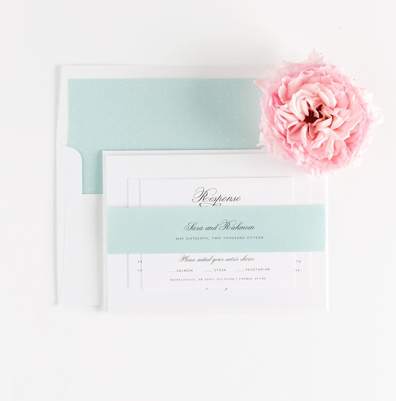 Vintage Wedding Invitations in Mint