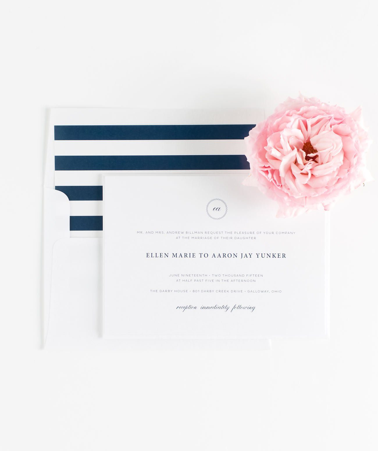 Vintage Wedding Invitations in Navy Blue with a Circle Monogram