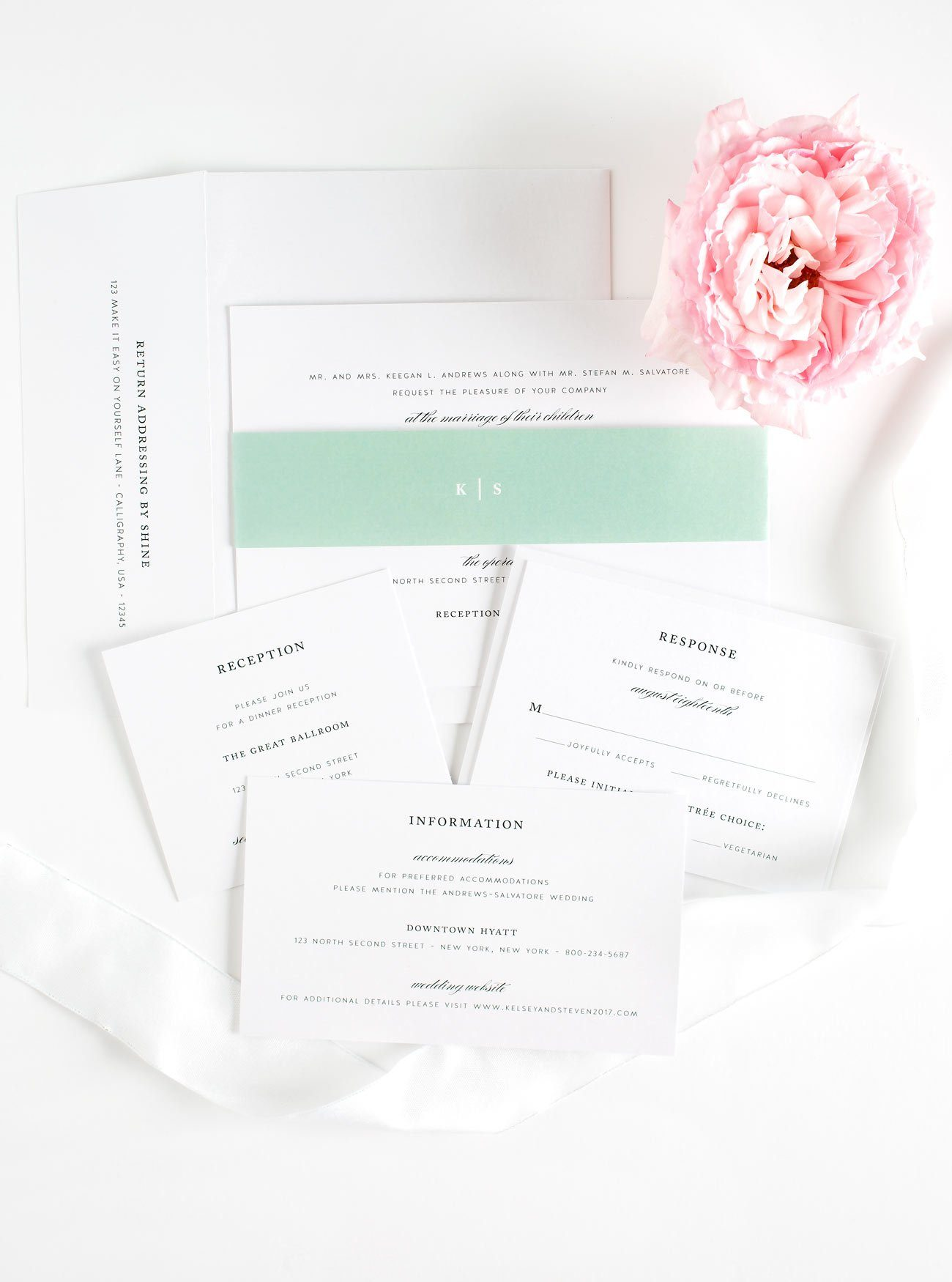 Jade Green Wedding Invitations with a Monogram