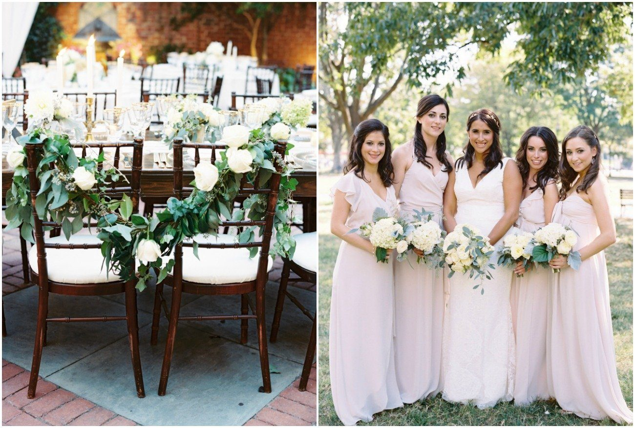 Blush Bridesmaids and floral garland