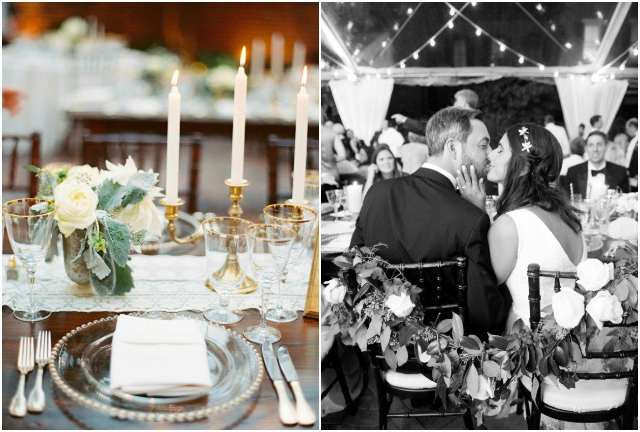 Reception with gold accents and bistro lighting