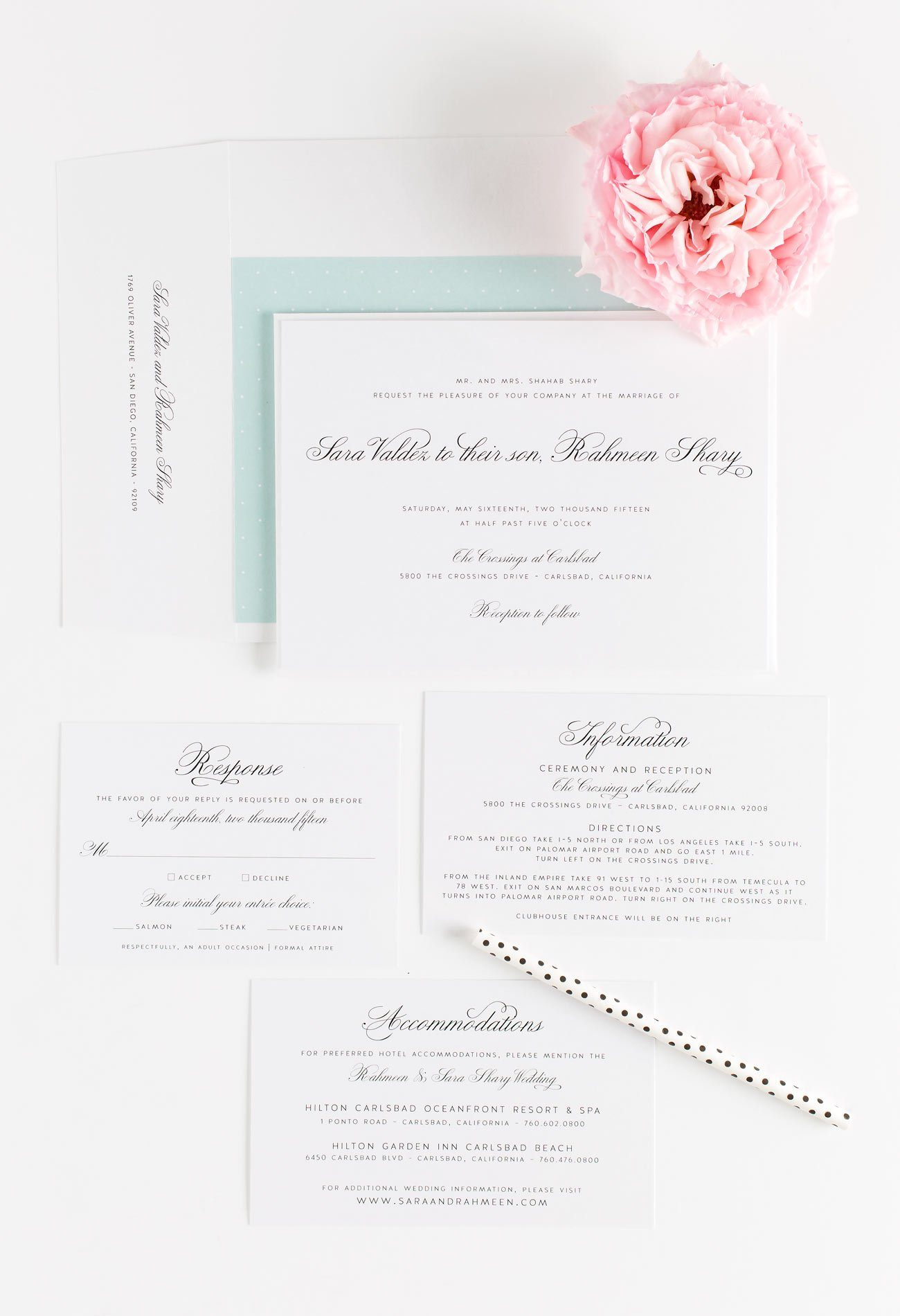 Classic Mint Green Wedding Invitations