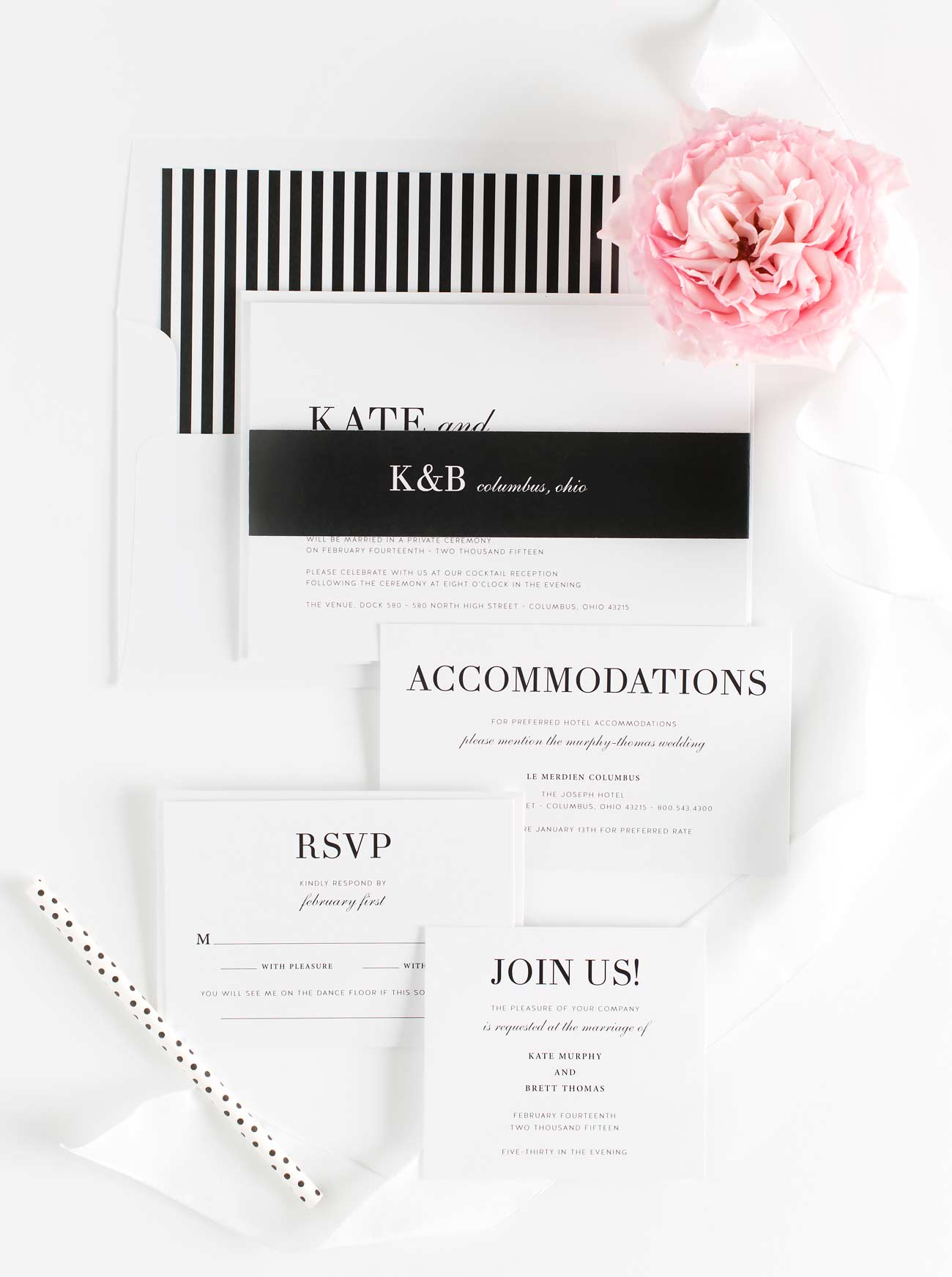 Glam Wedding Invitations in Black and White