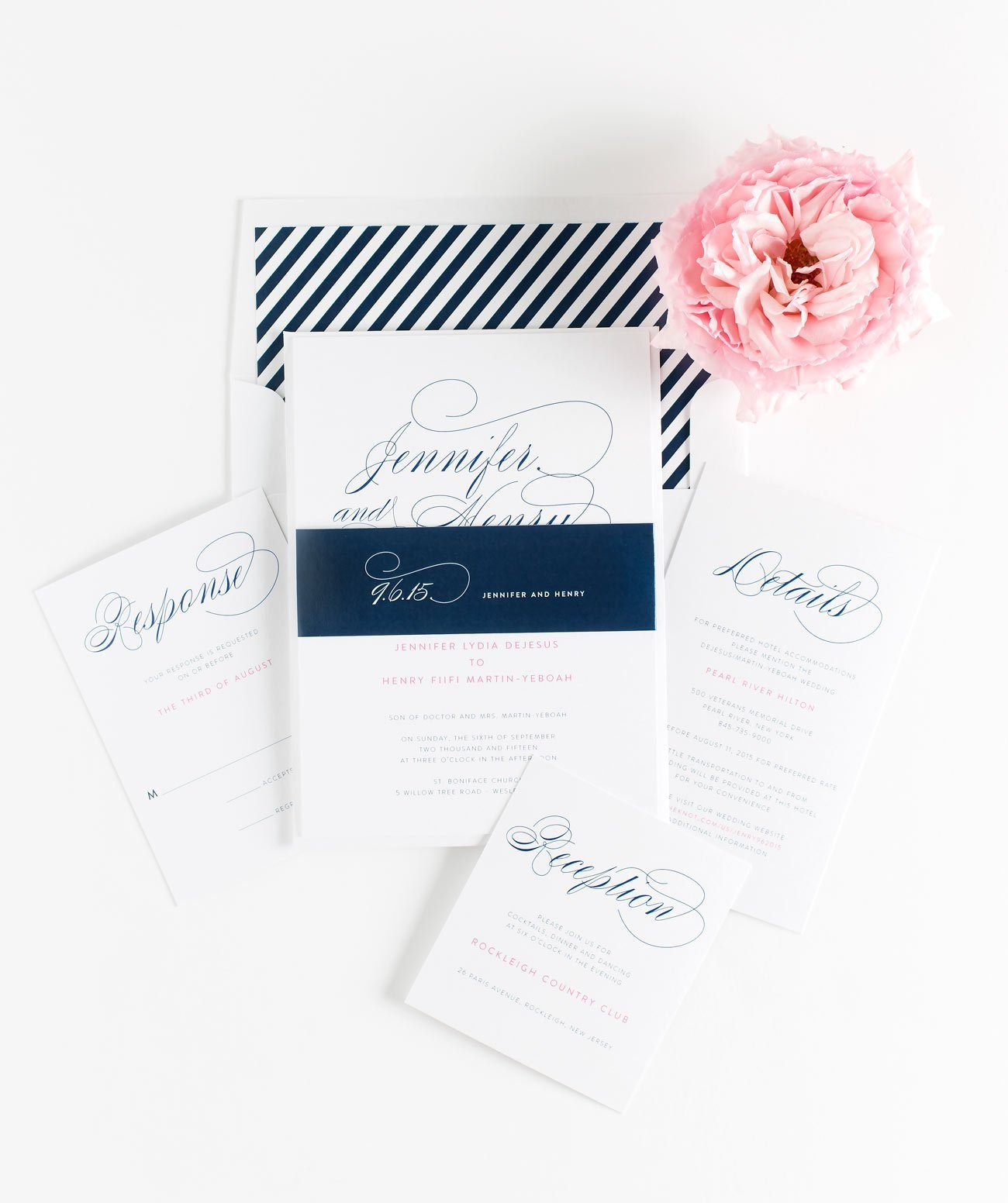 Navy Striped Wedding Invitations with hot pink accents