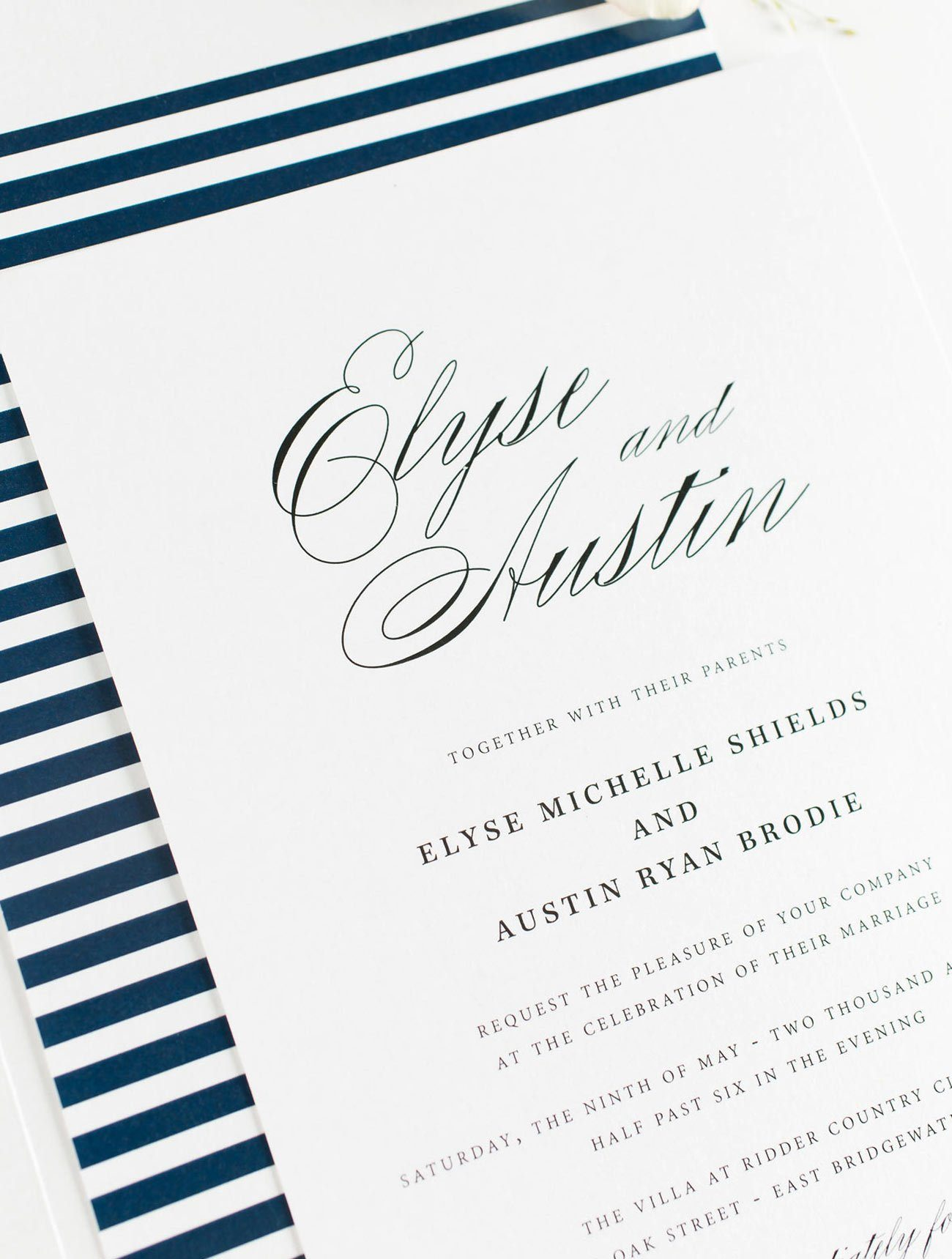 Navy Blue Wedding Invitations with Script