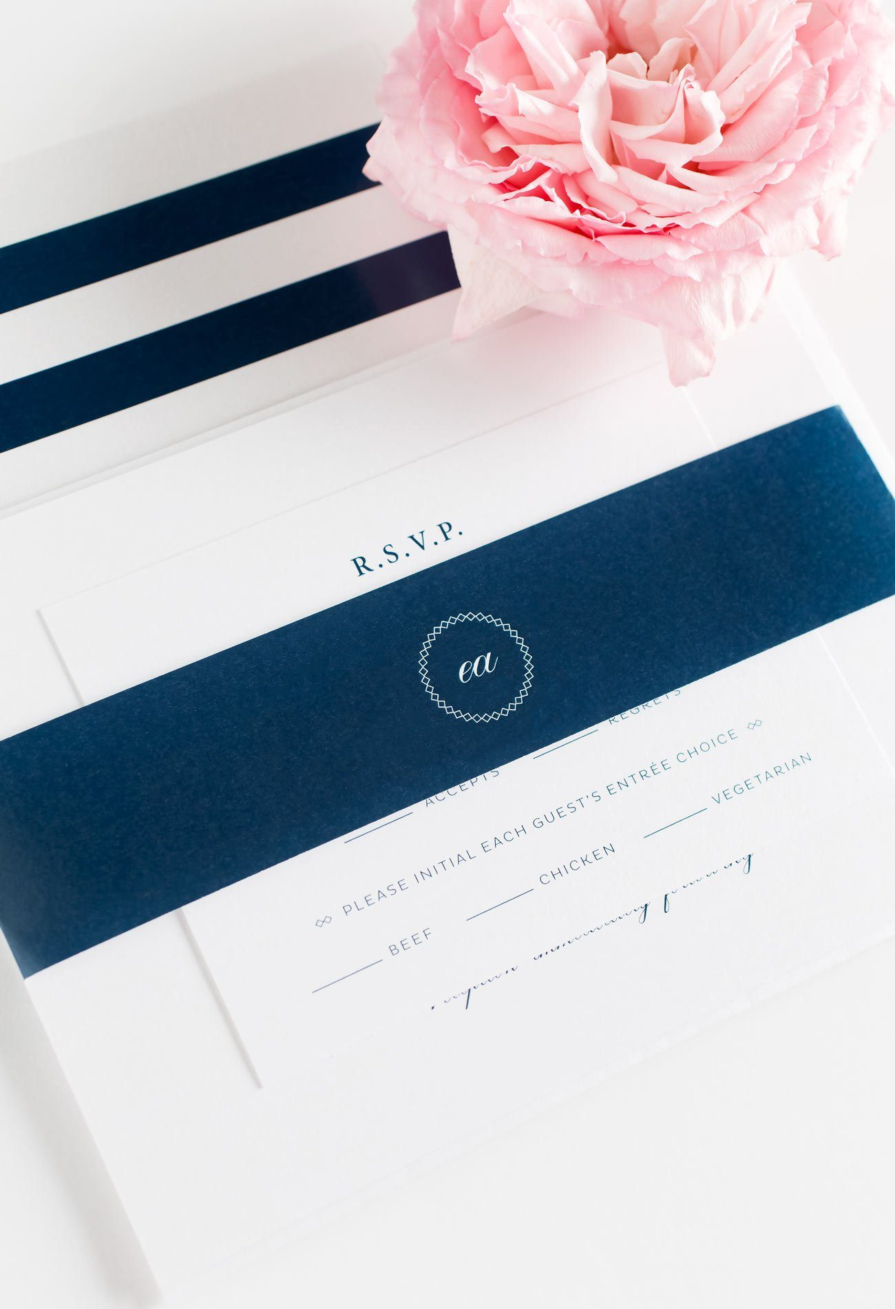 Crosshatch Monogram Wedding Invitations in Navy Blue