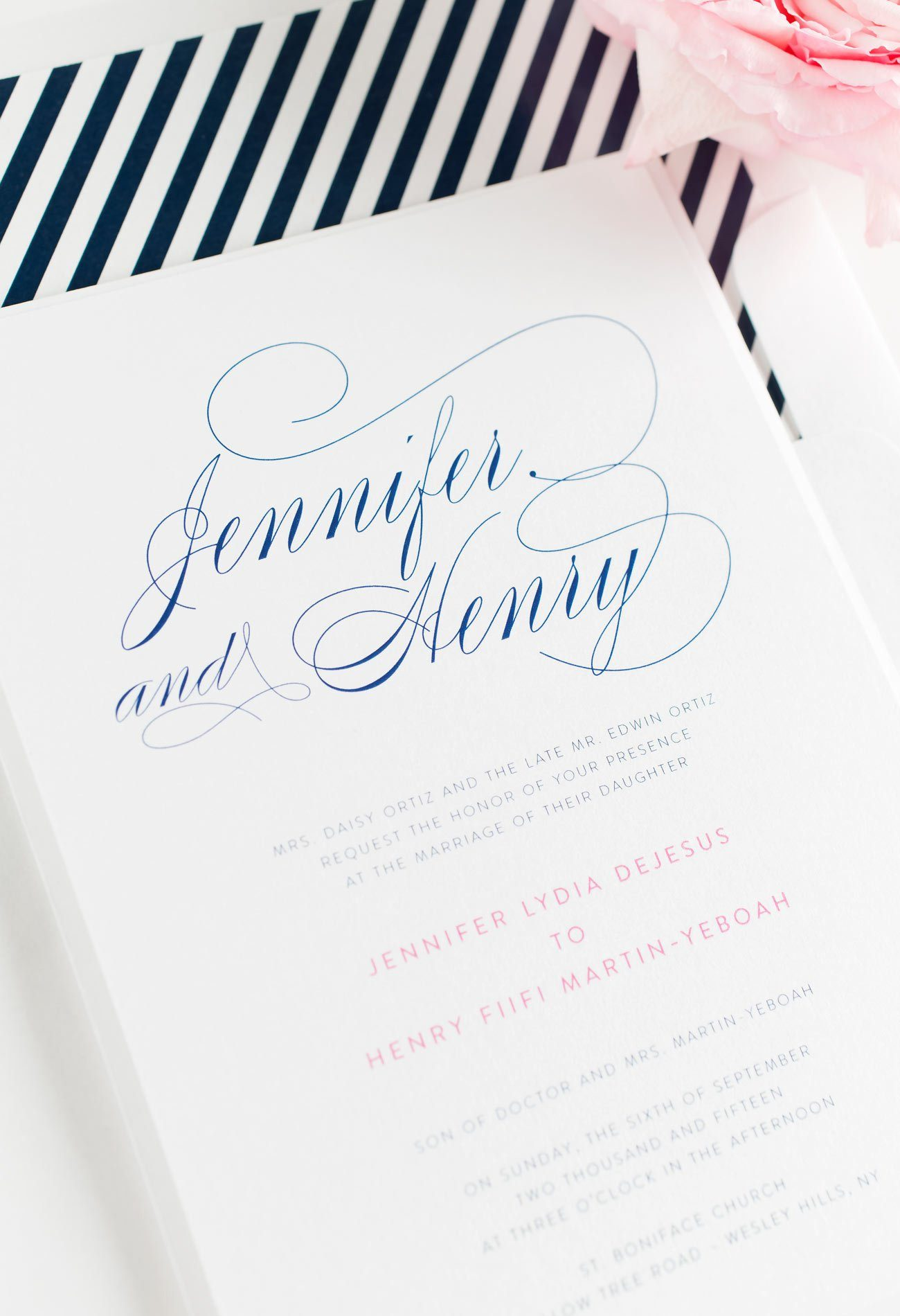 Elegant Navy Striped Wedding Invitations