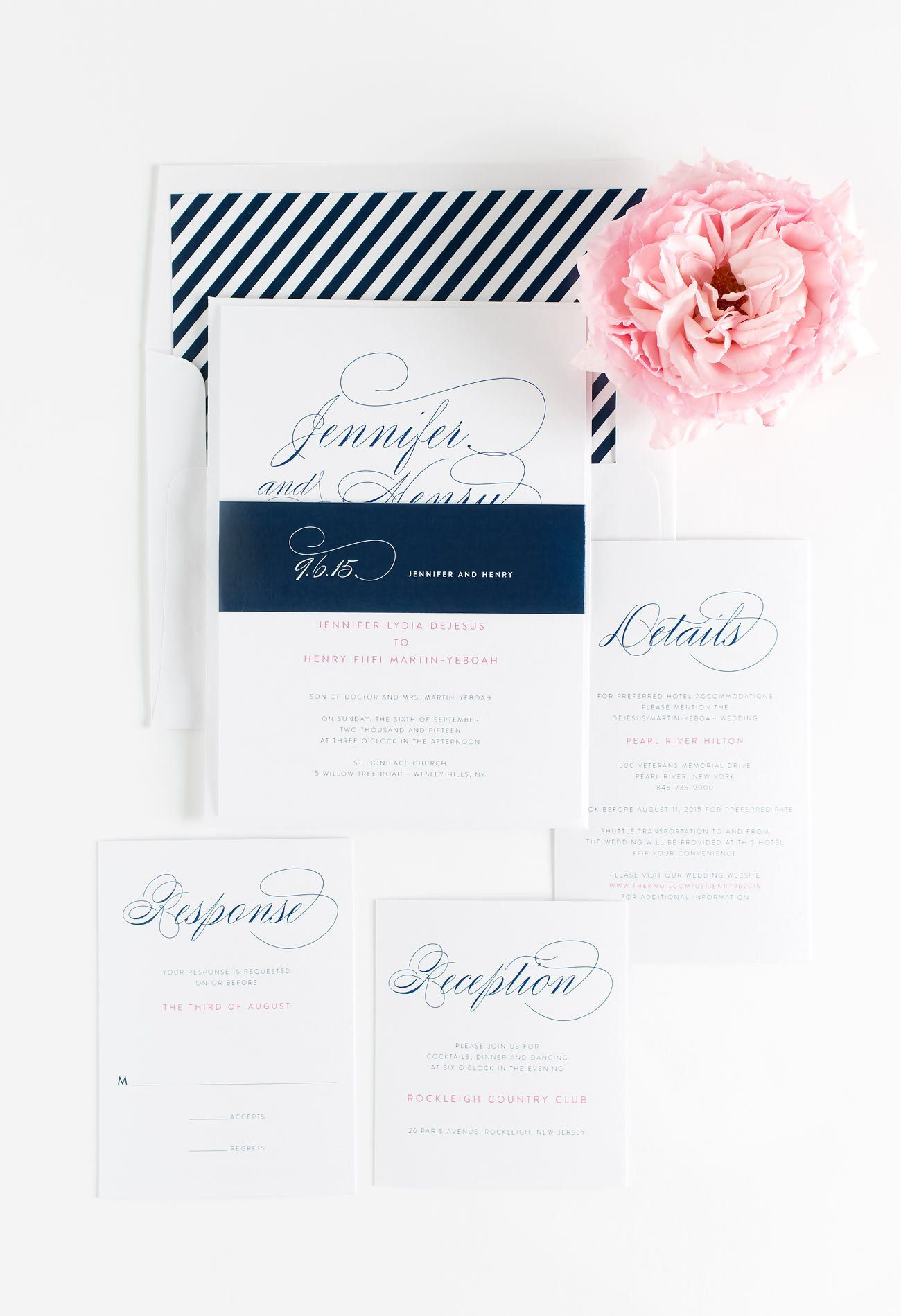 Script Stationery Suit in Navy and Hot Pink