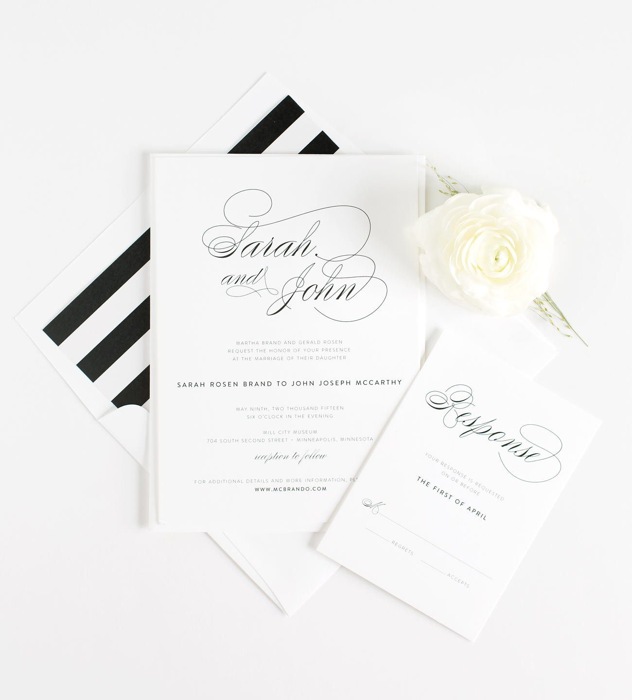 Script Elegant Wedding Invitations in Black and White Stripes