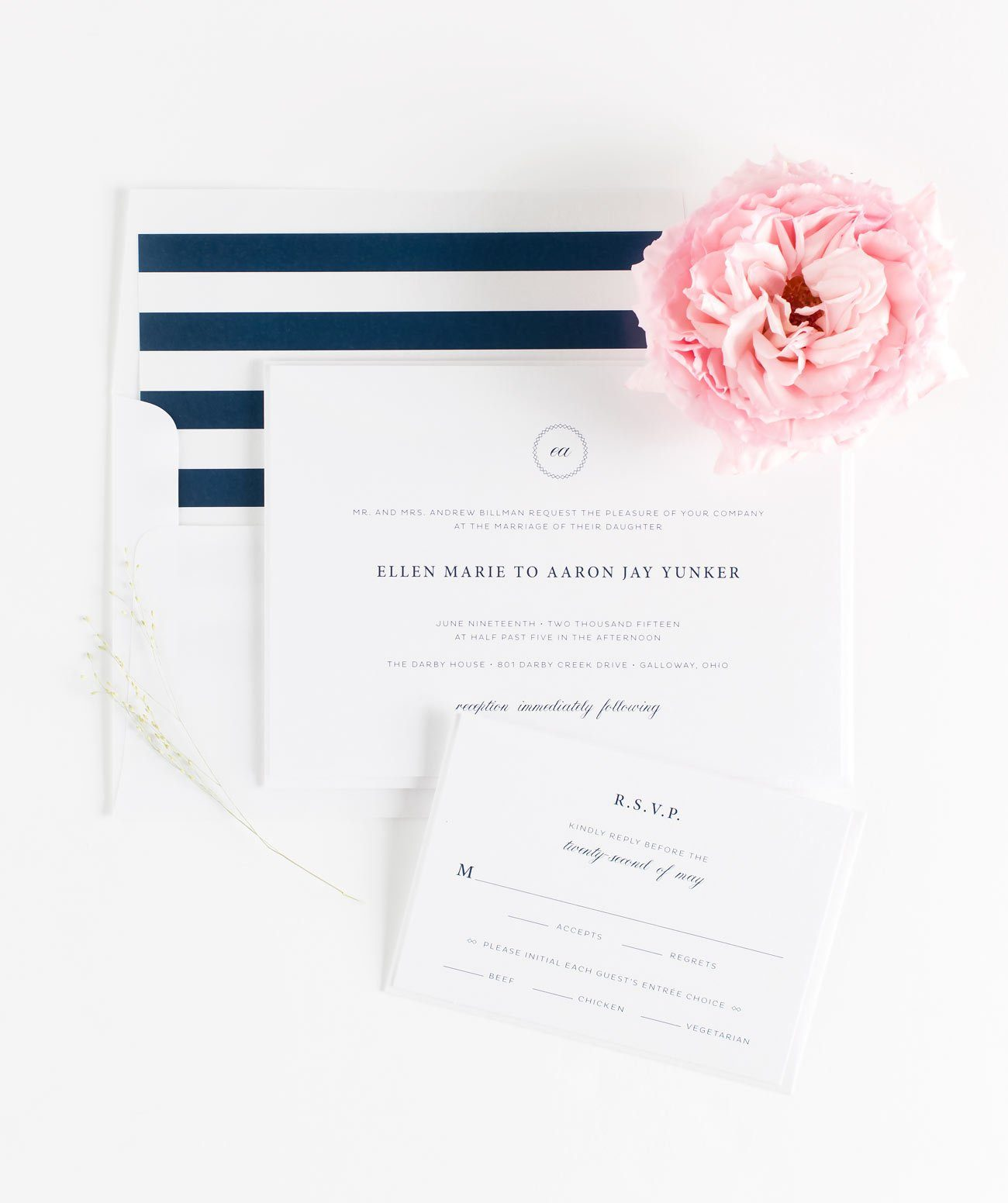 Vintage and Elegant Wedding Invitations in Navy Blue