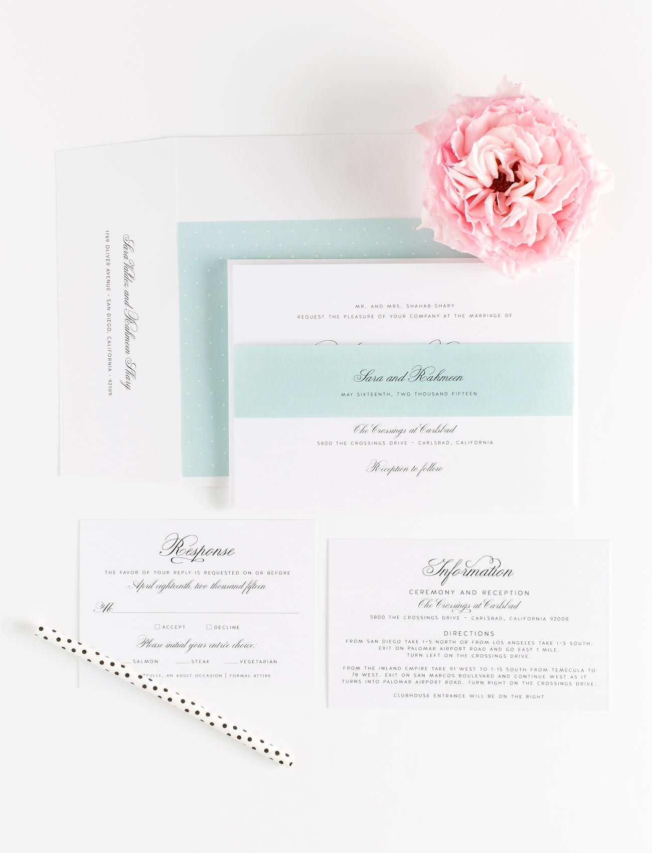 Elegant Wedding Invitations in Mint with Polka Dot Accents