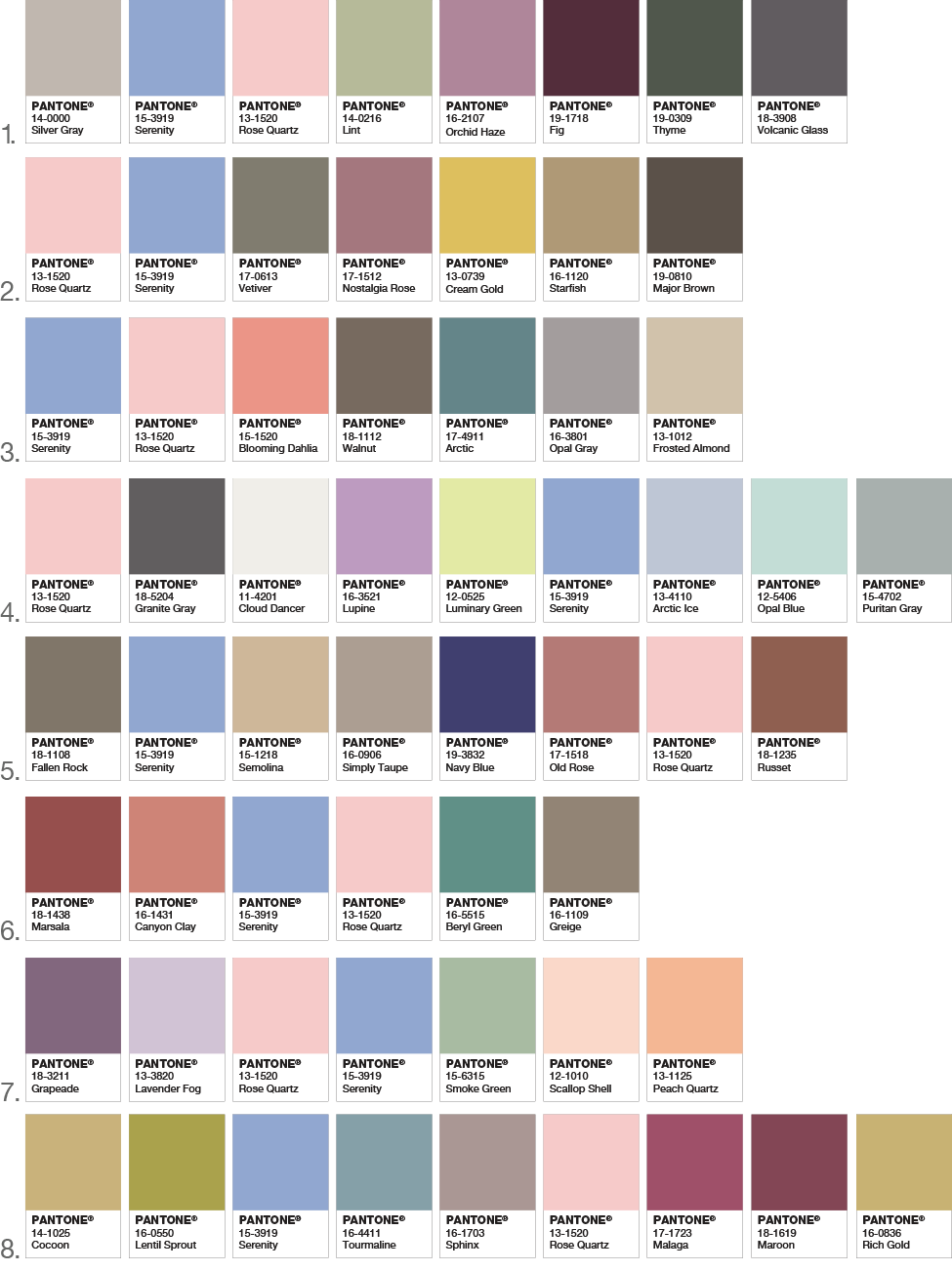 Color of the Year Pantone Color Palettes 2016