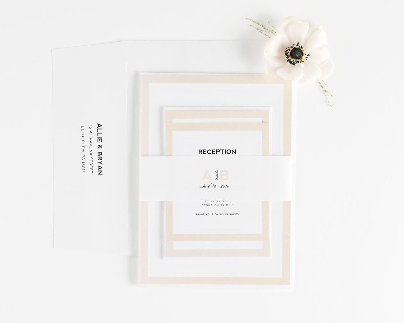 Romantic Champagne Assembled Wedding Invitation