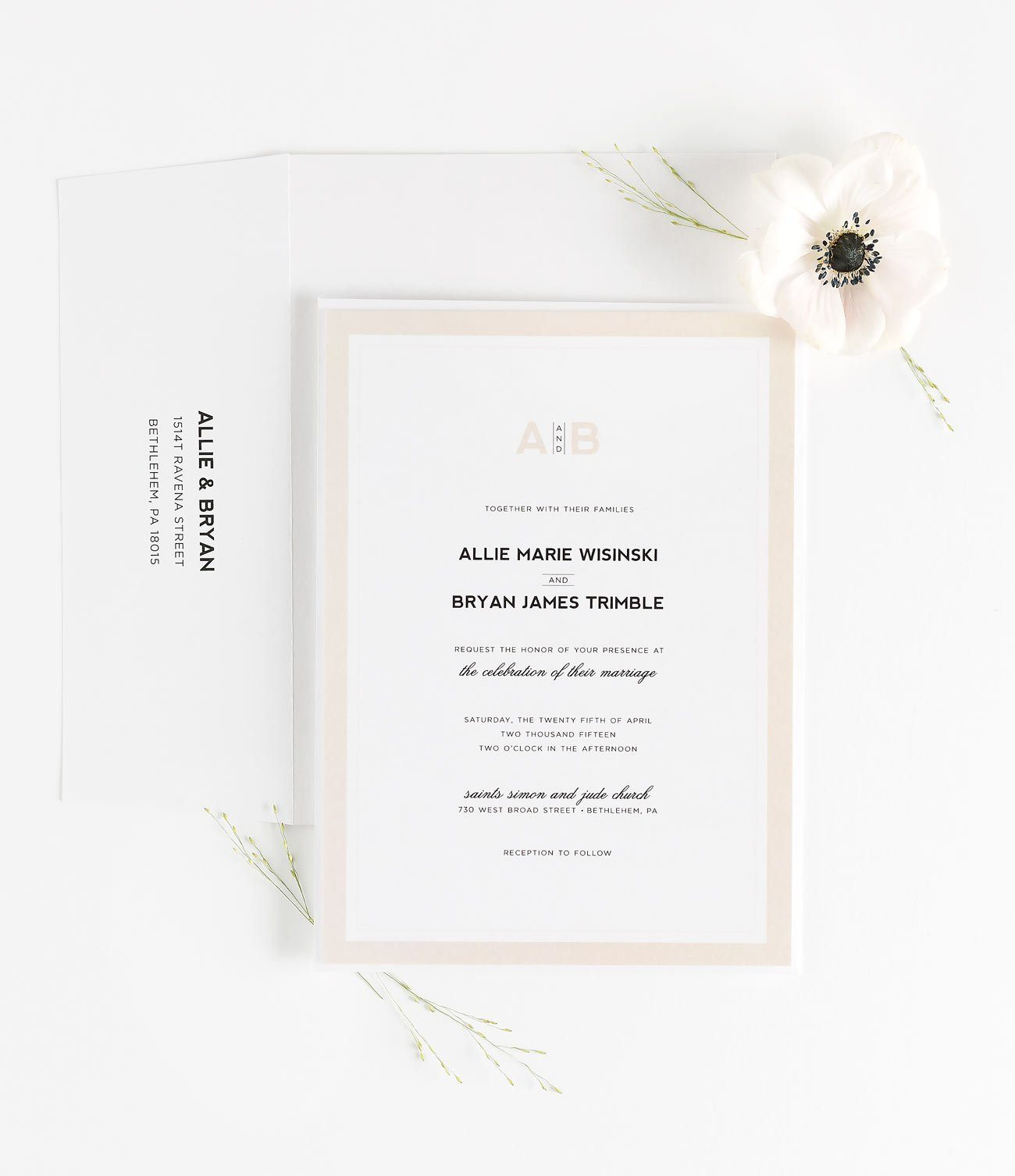 Blush Wedding Invitations with a Modern Monogram