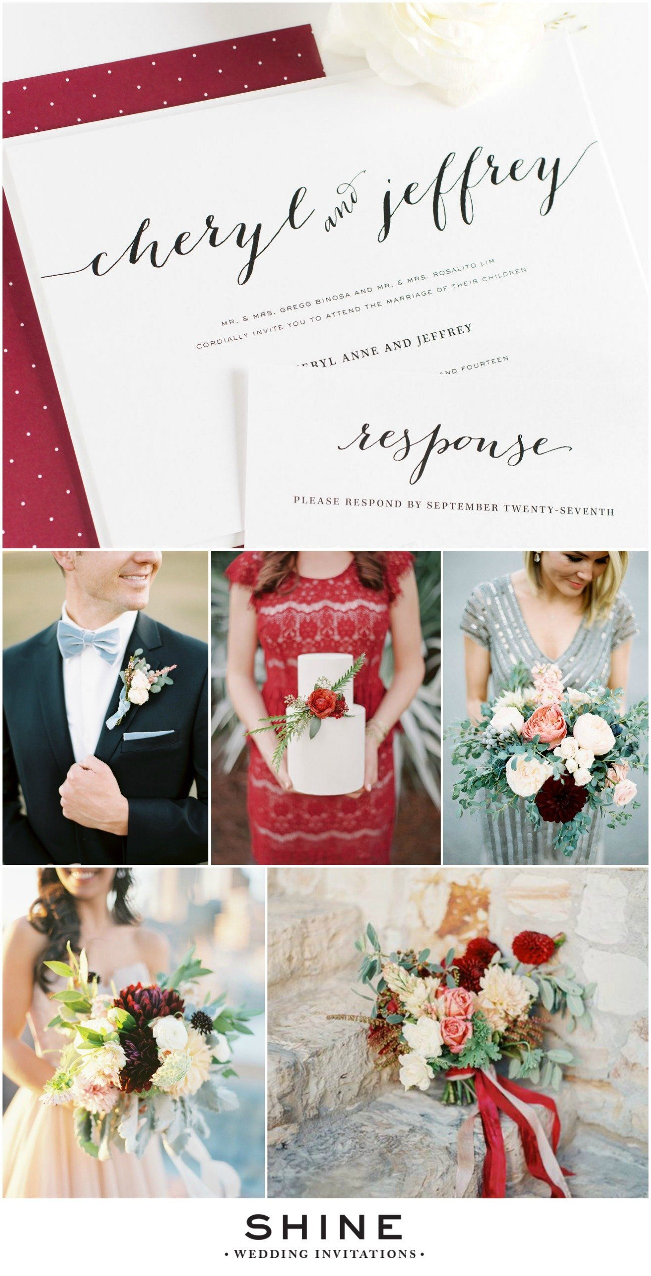 Dusty Blue and Cranberry Holiday Wedding Inspiration