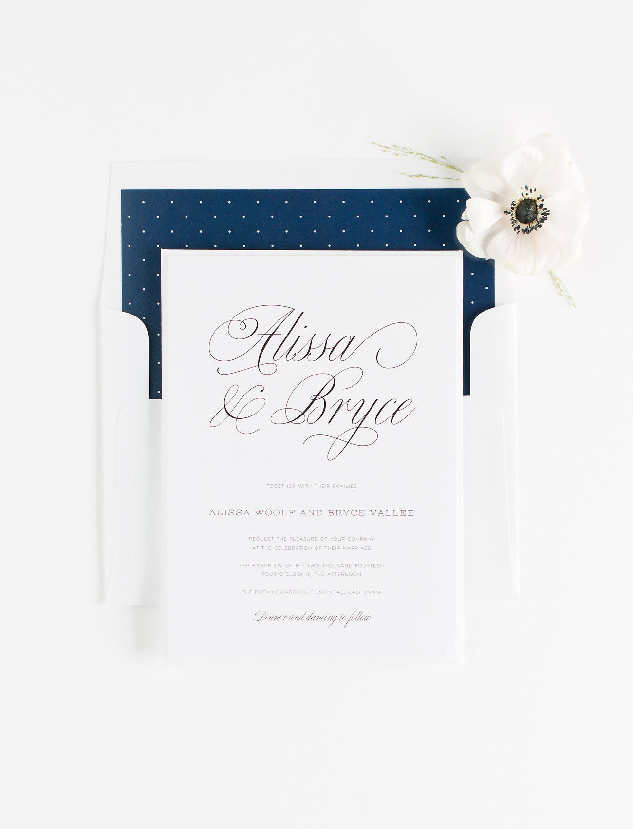 Garden Wedding Invitations in Navy Blue with a Polka Dot Envelope Liner